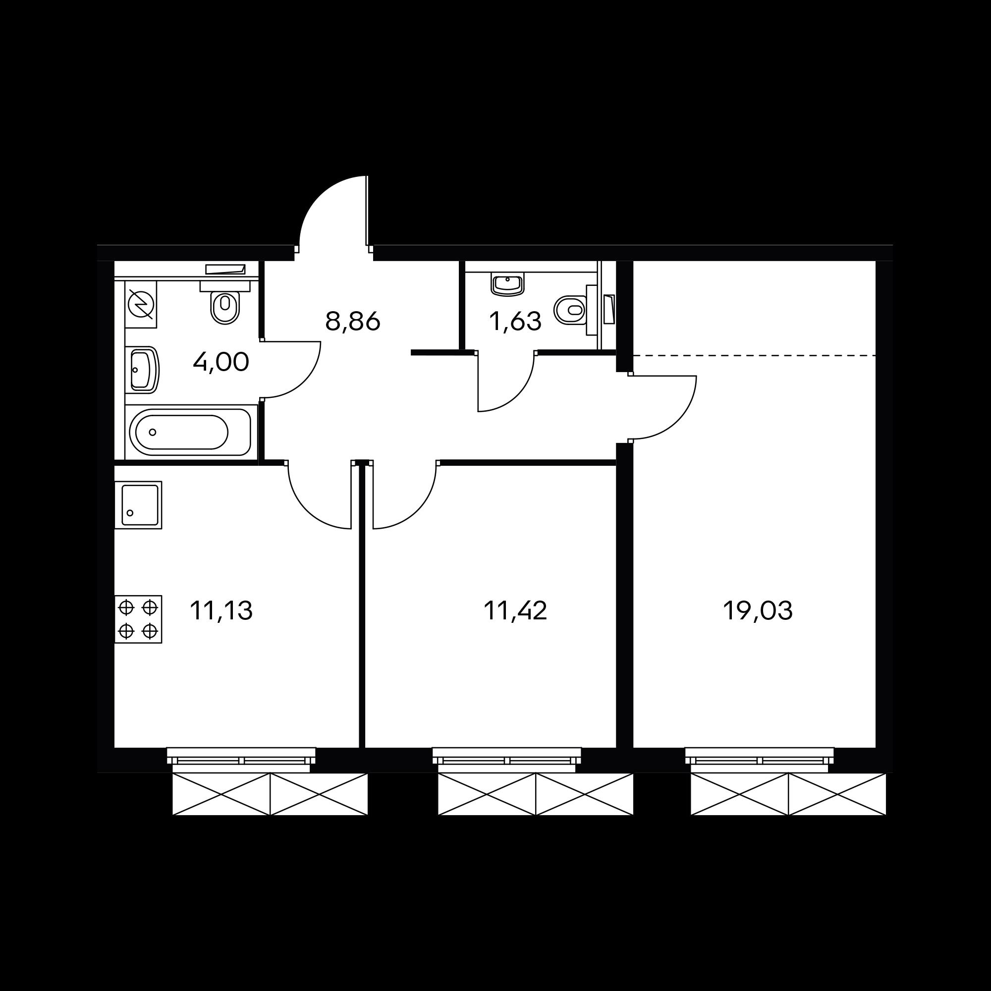2-комнатная 55.3  м²