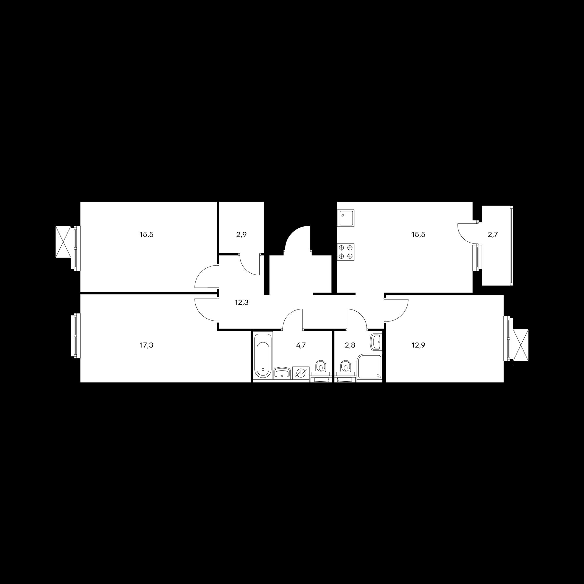 3-комнатная 85.3  м²