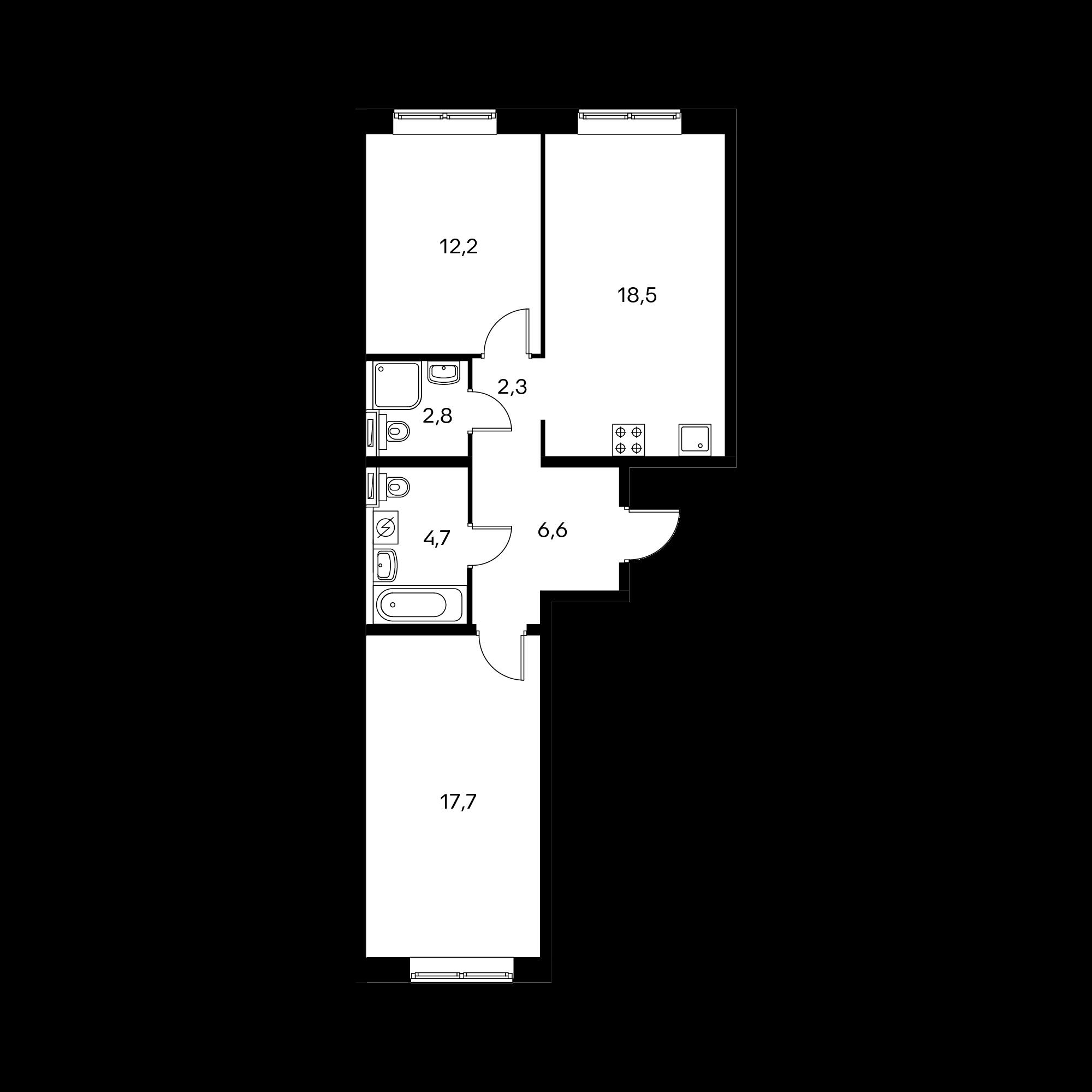 2-комнатная 64.9 м²