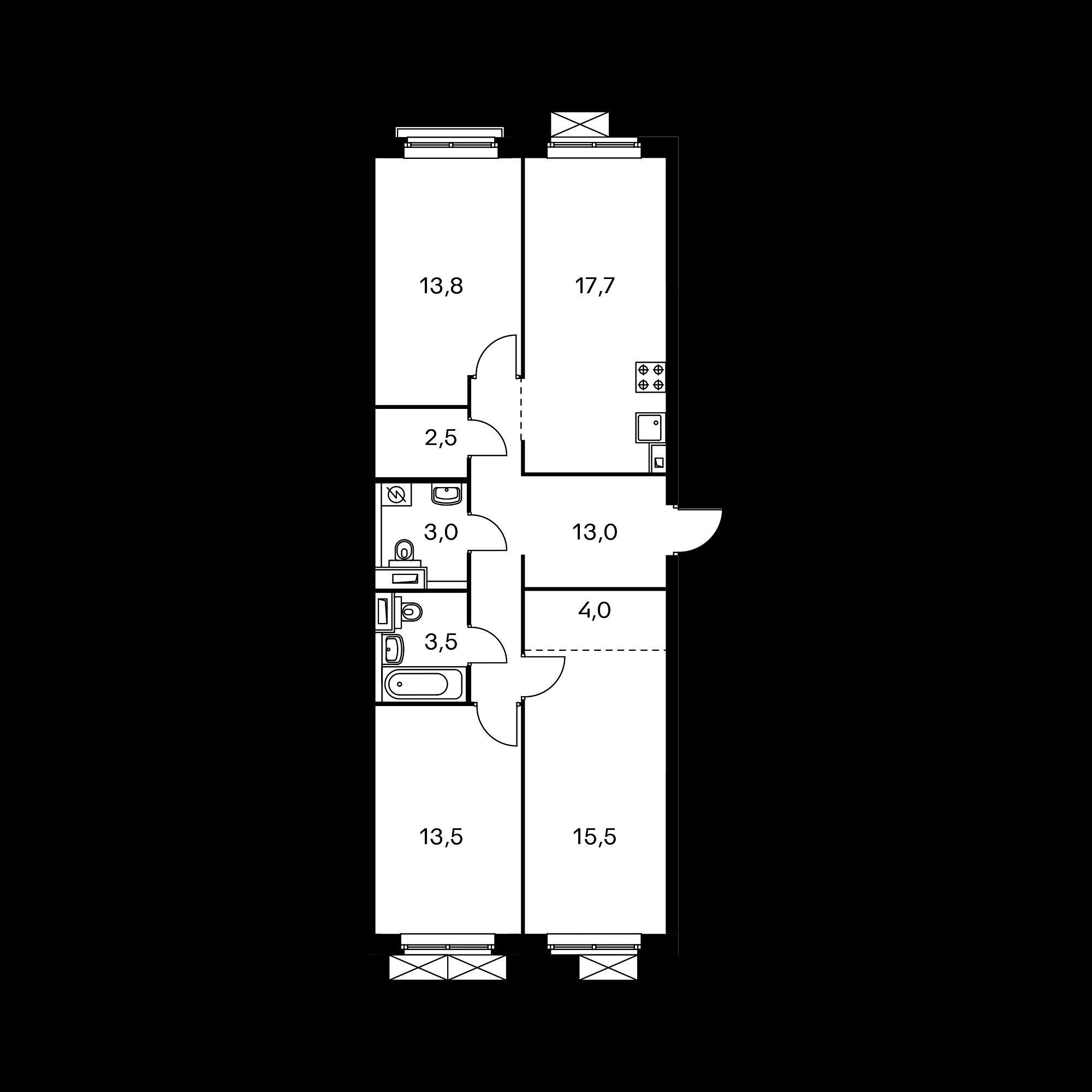 3-комнатная 86.5 м²