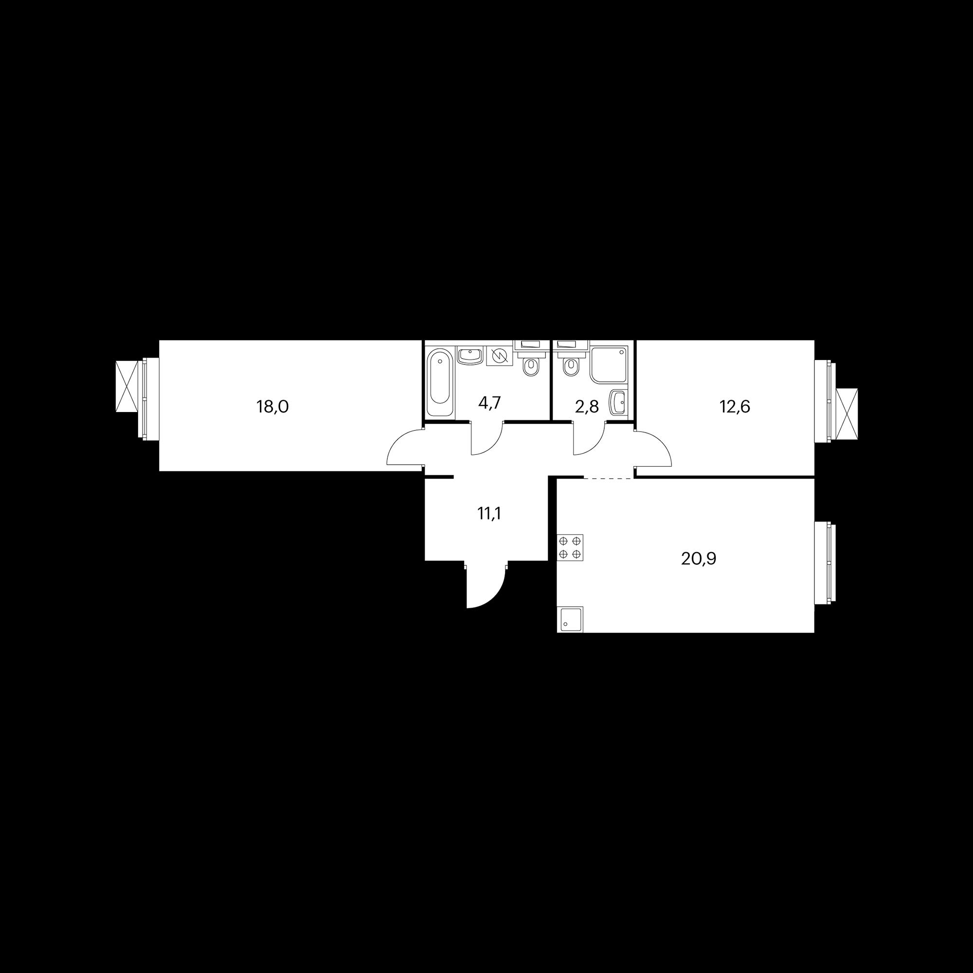 2-комнатная 70.1  м²