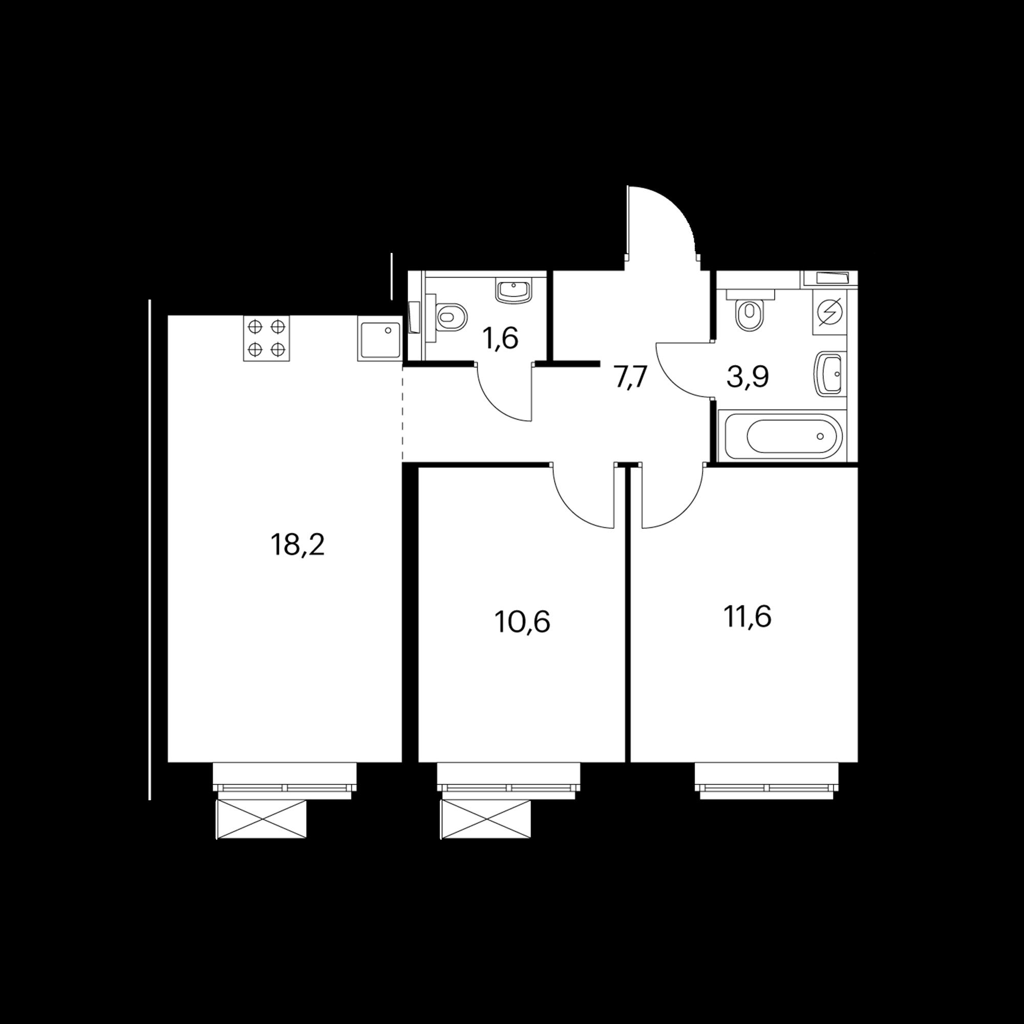 2-комнатная 53.6 м²