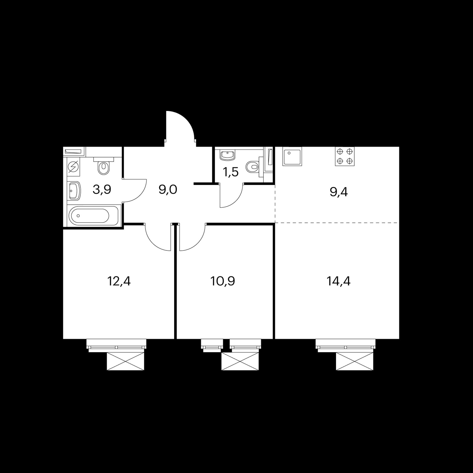 3-комнатная 61.5 м²