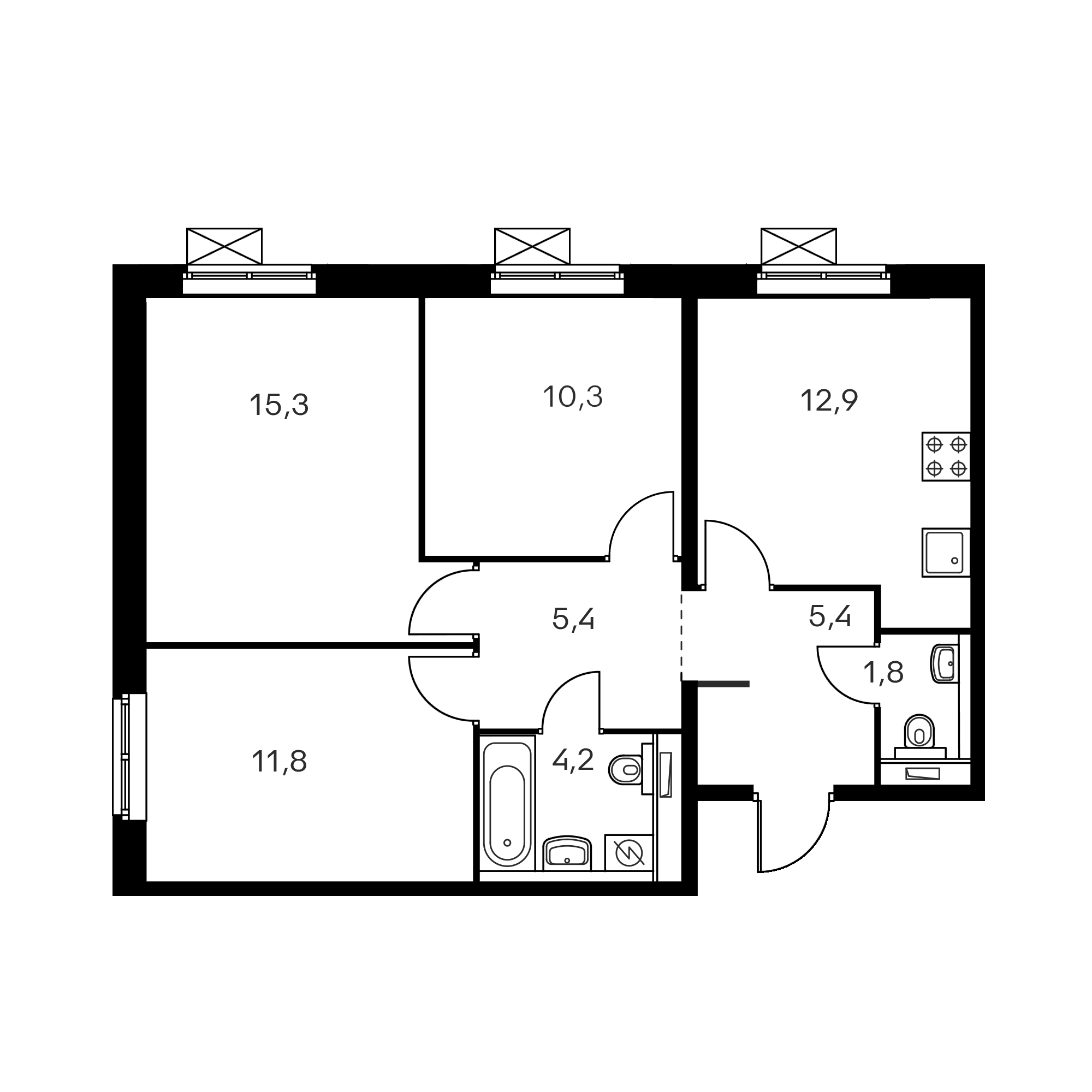 3-комнатная 67.3 м²