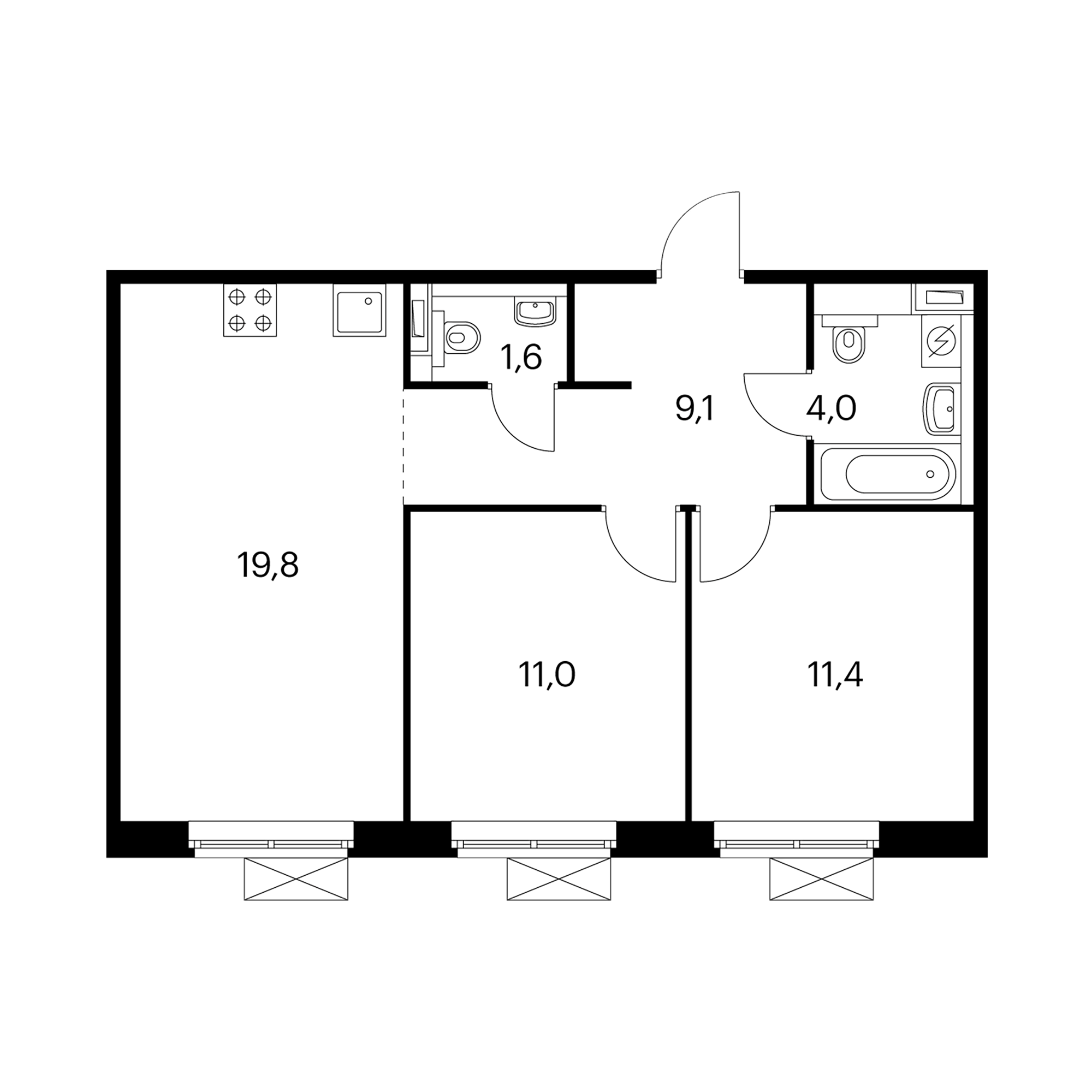 2-комнатная 56.9  м²