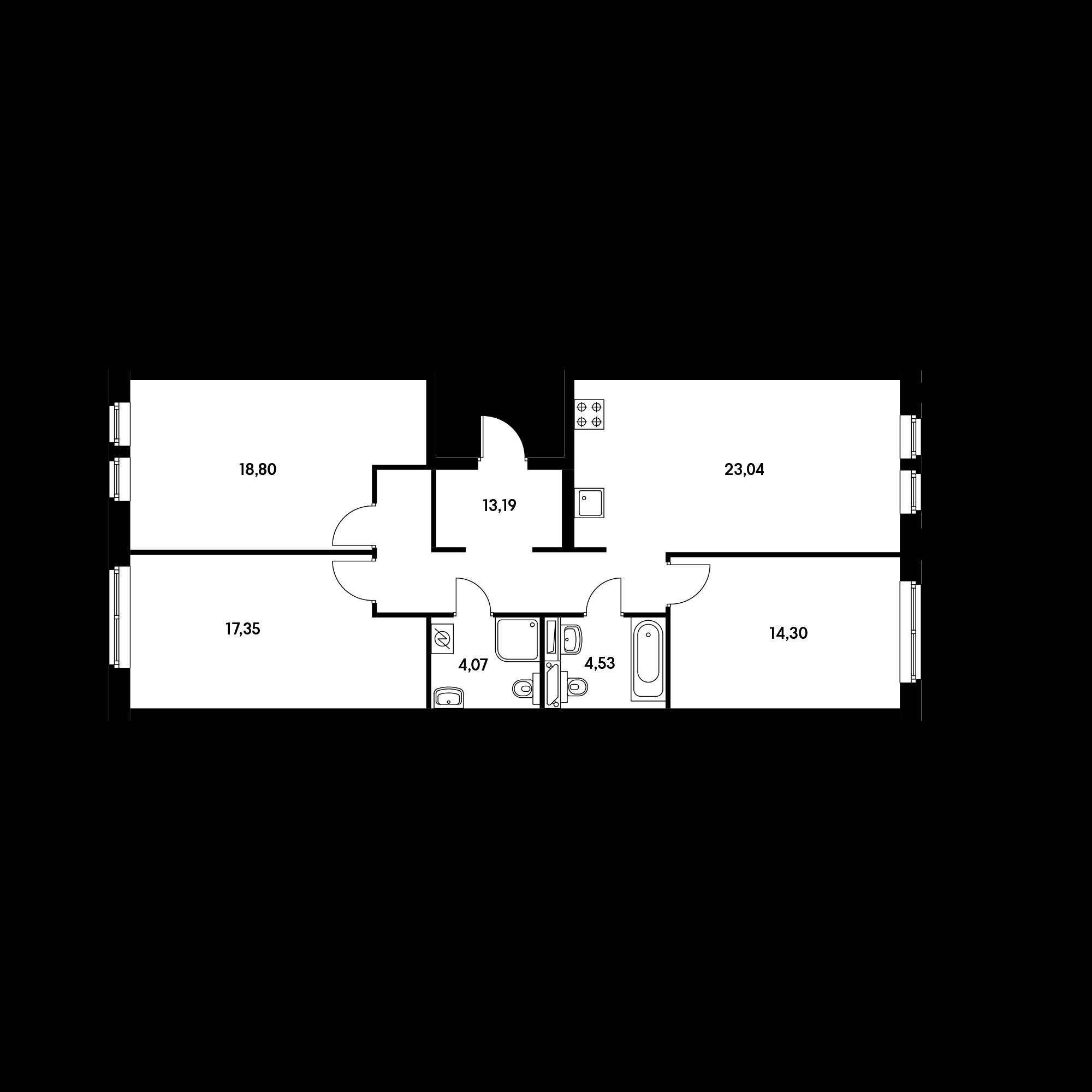 3-комнатная 93.8  м²