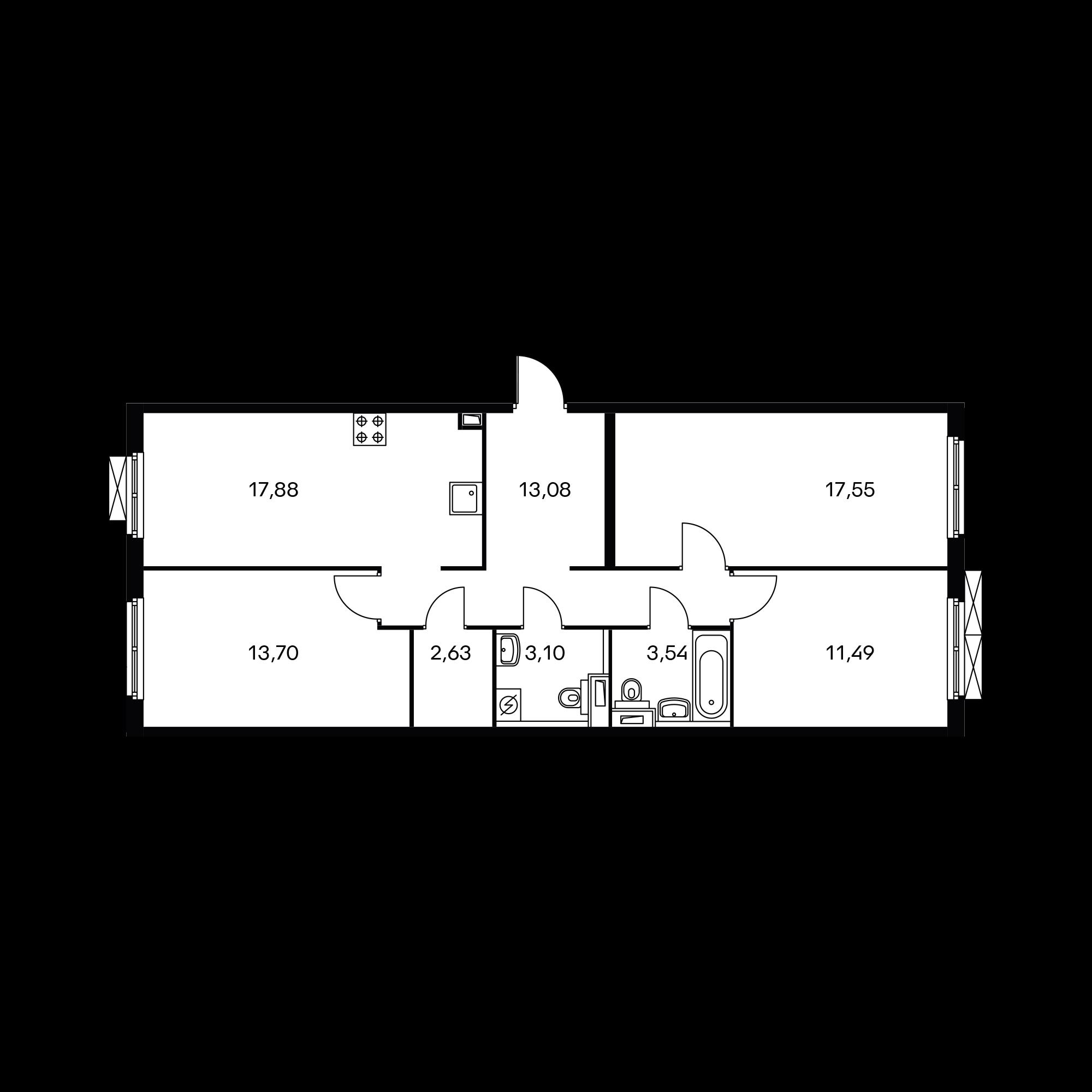 3-комнатная 82.95 м²