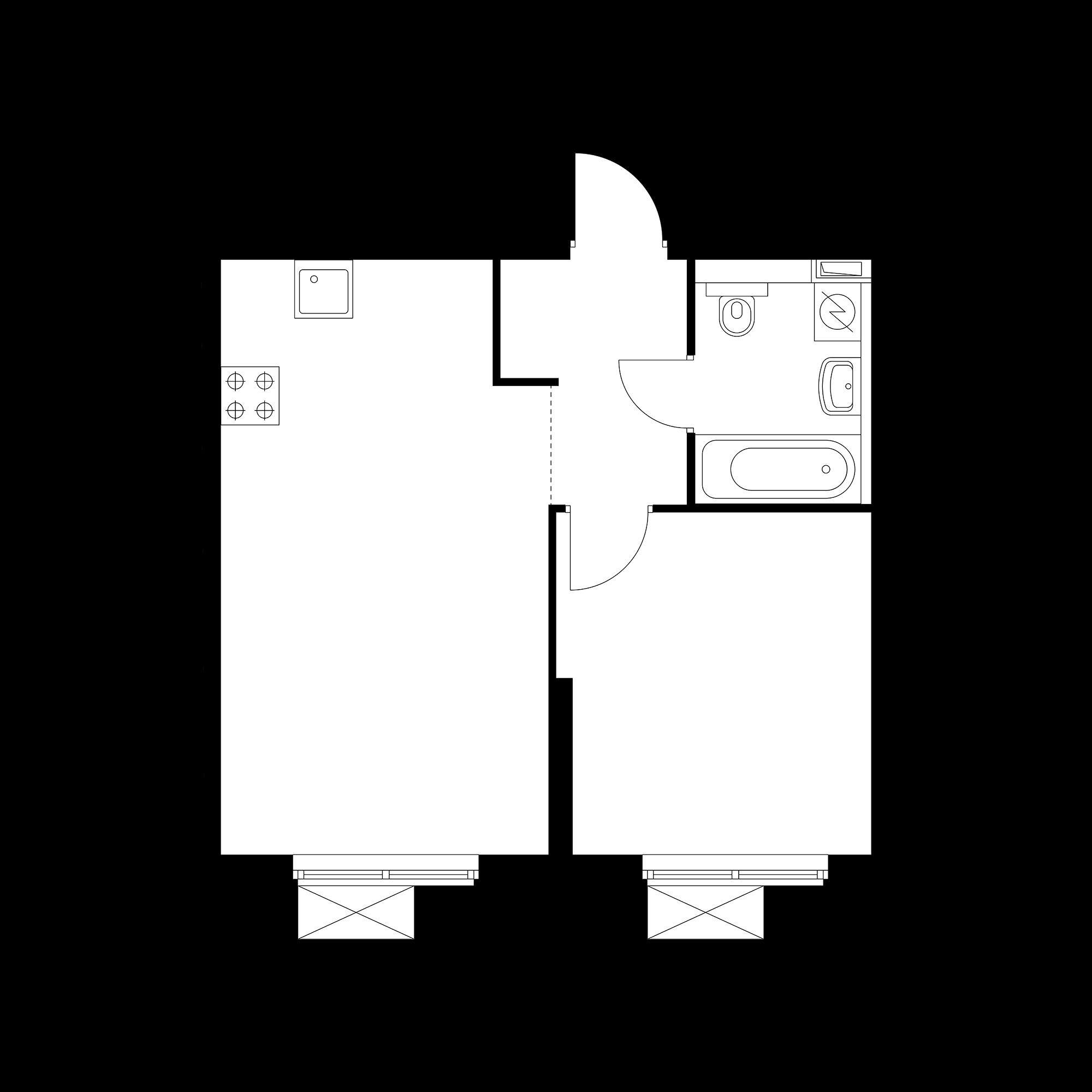 1-комнатная 39.18 м²