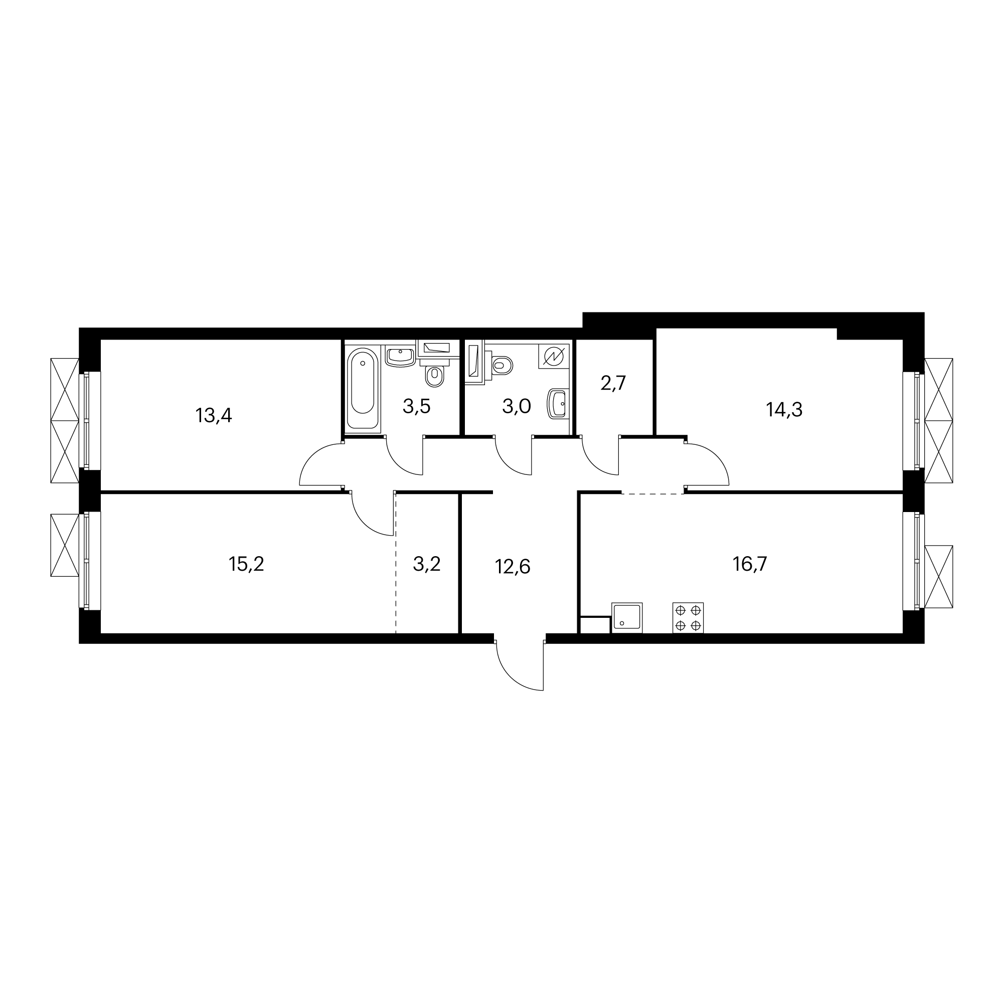 3-комнатная 84.6 м²