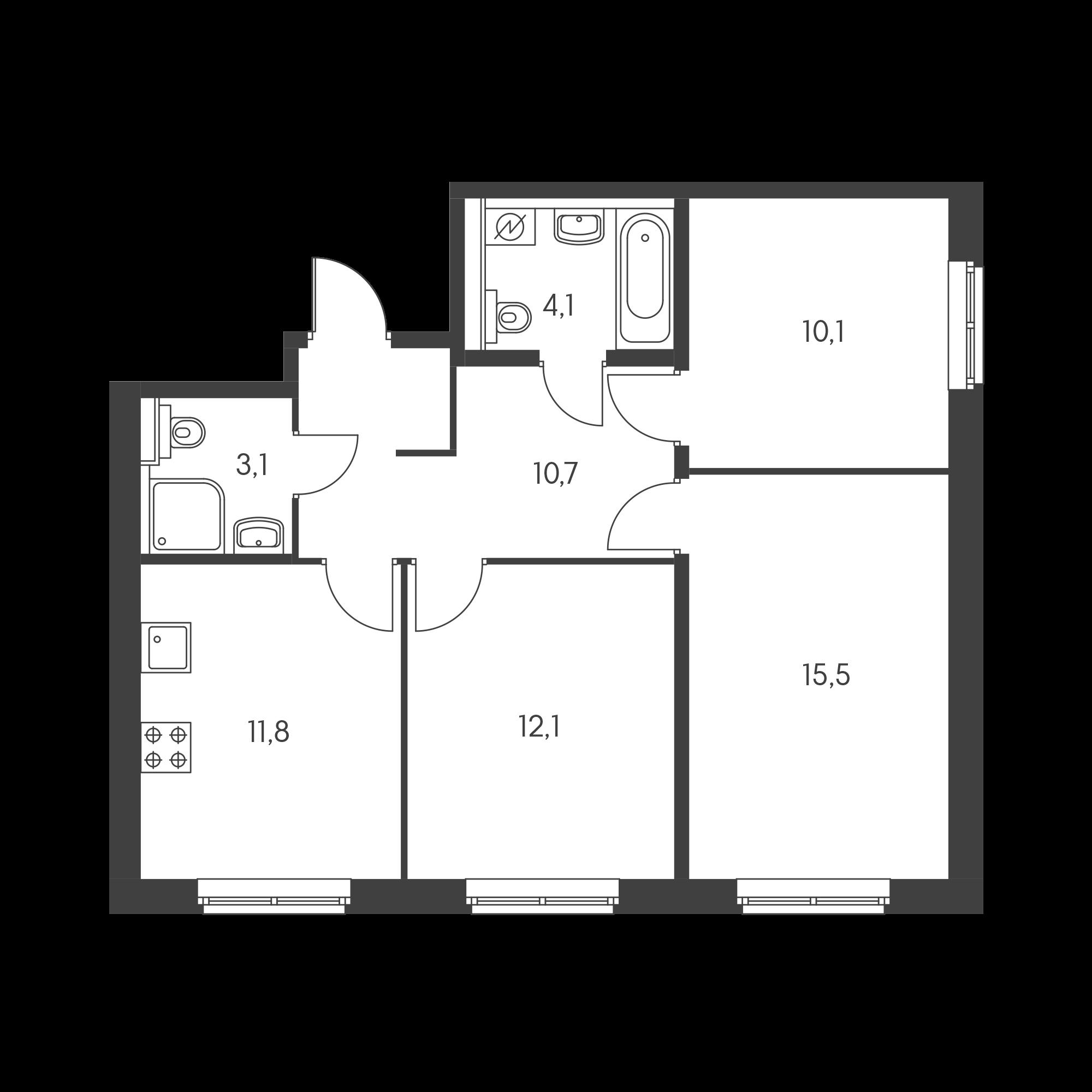 3-комнатная 66.5 м²
