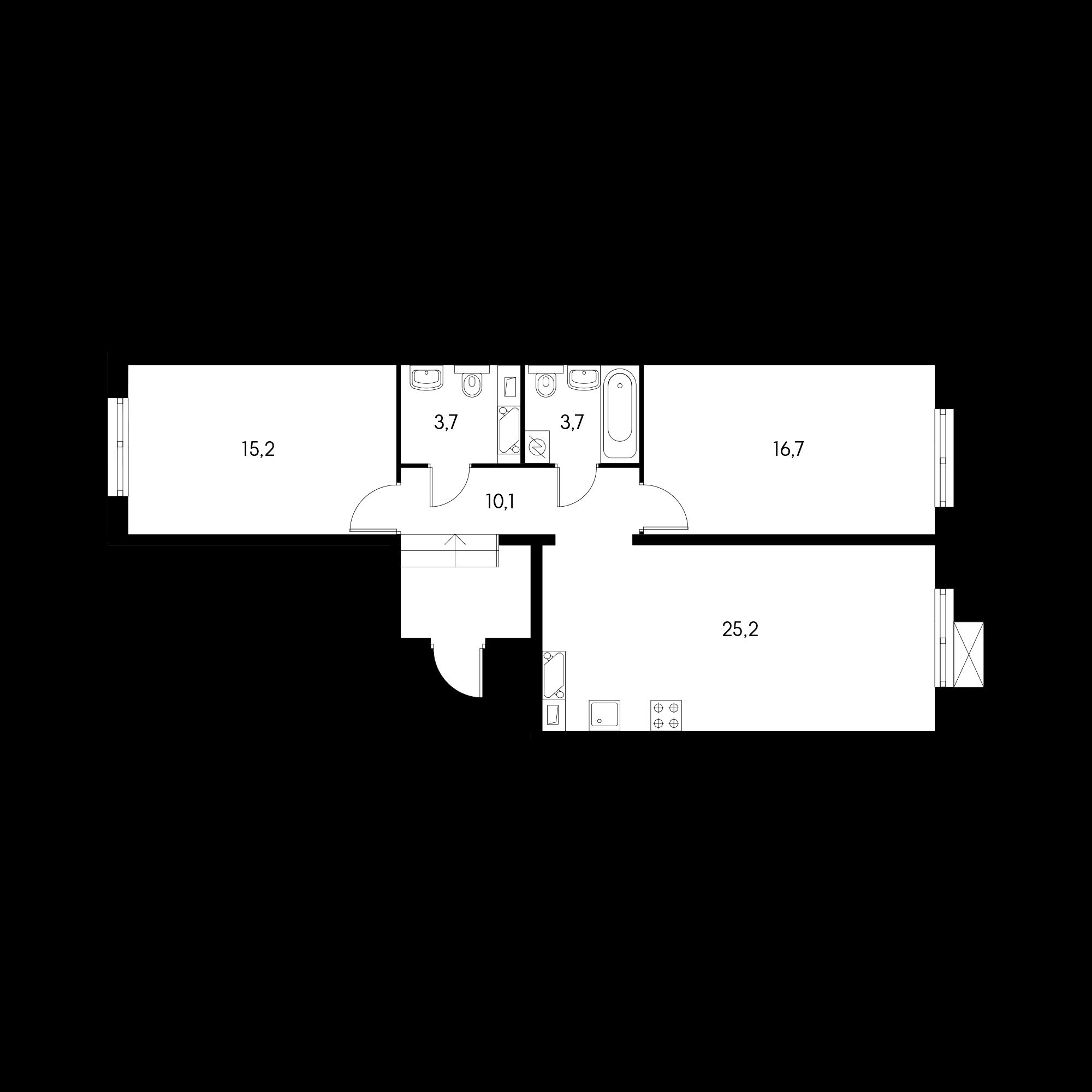 2-комнатная 74.1 м²
