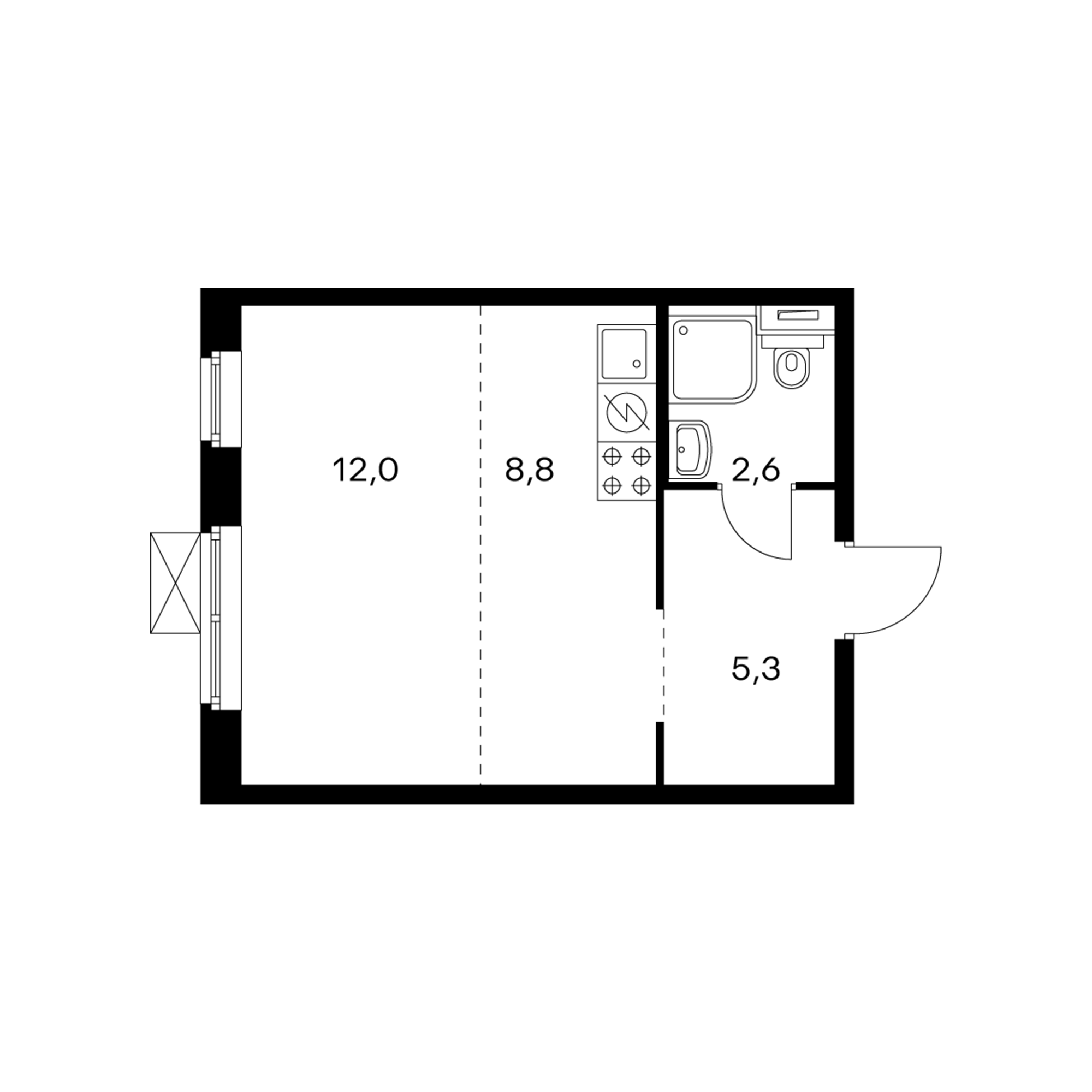 Студия 28.7 м²
