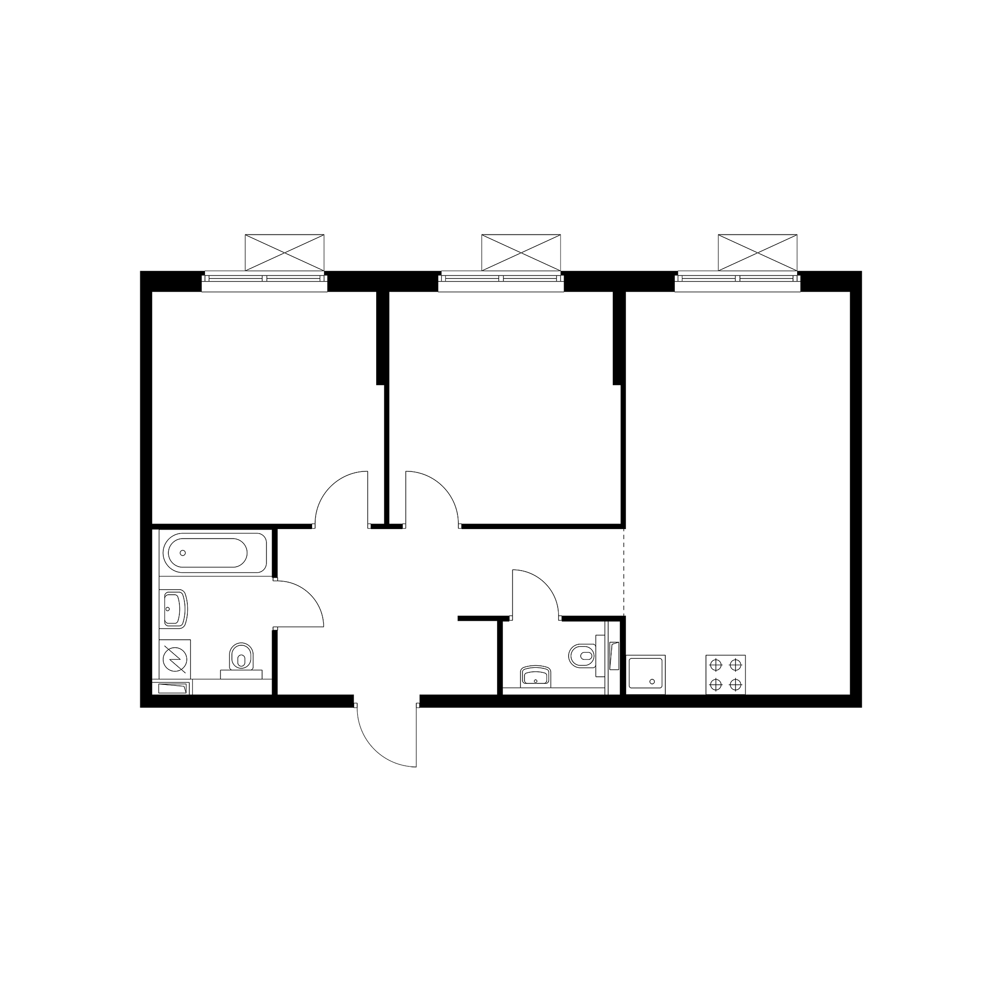 2-комнатная 61.9 м²