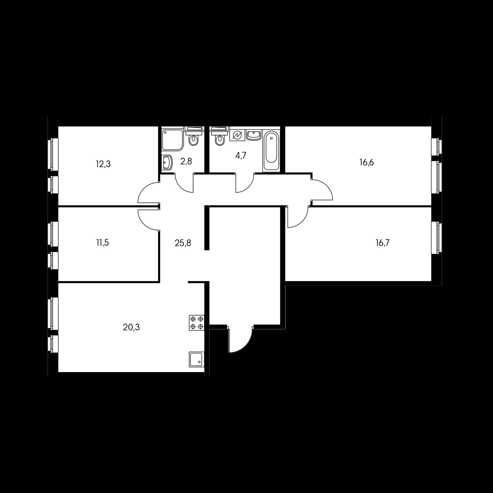 4-комнатная 109.6 м²