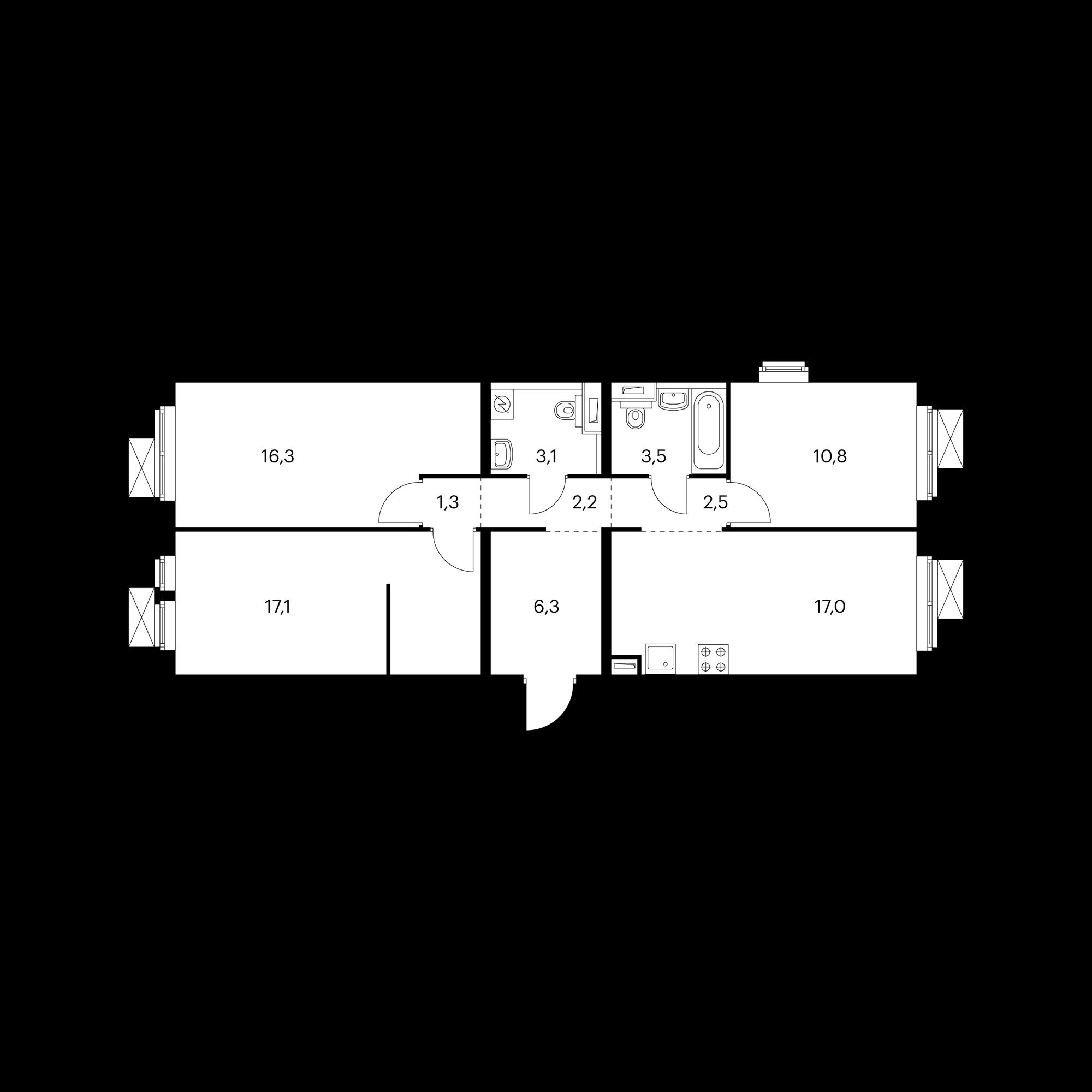 3-комнатная 80.4 м²