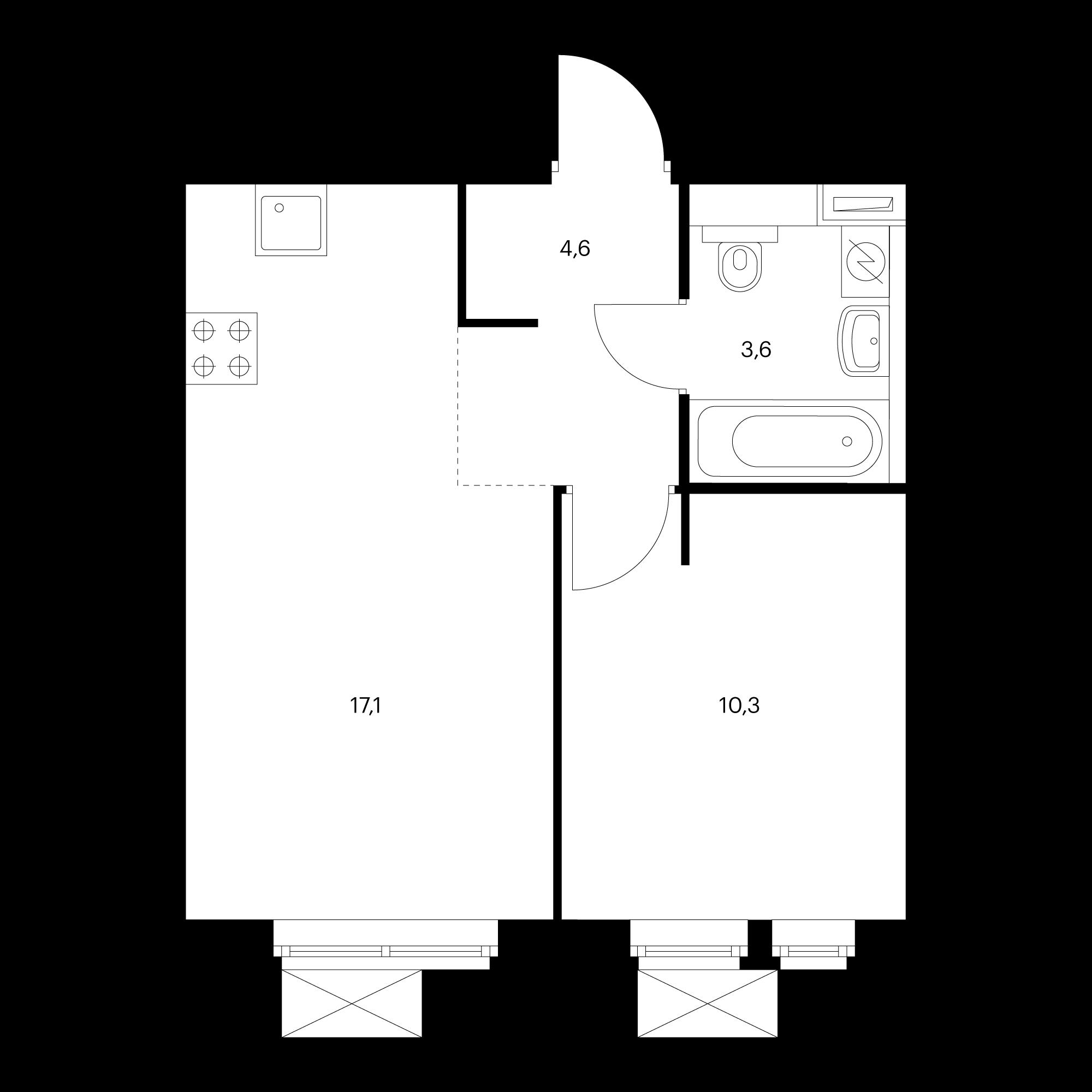 2-комнатная 35.7 м²