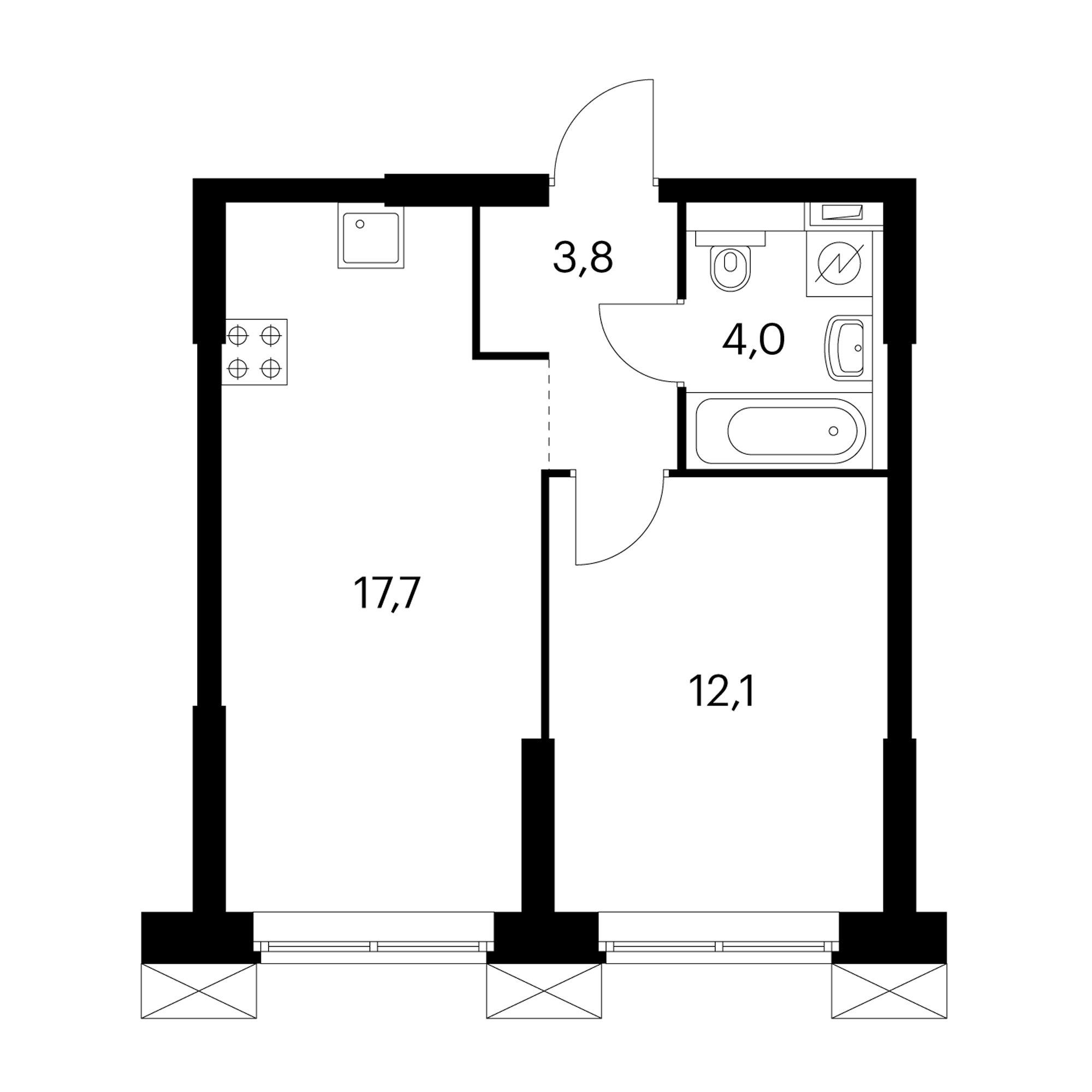 1-комнатные 37.6 м²