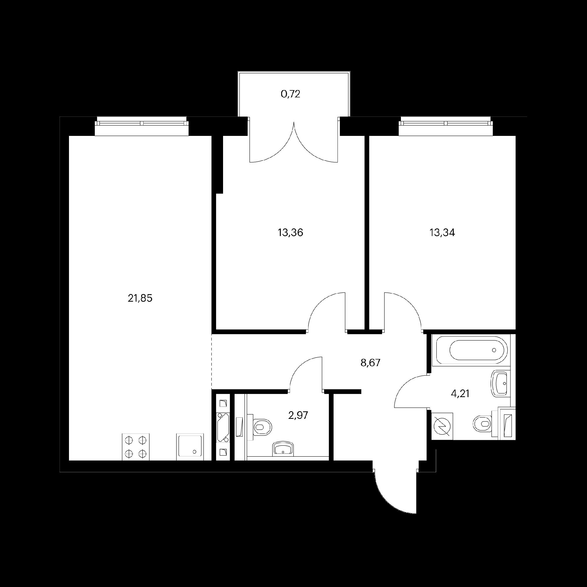 2-комнатная 65.12  м²