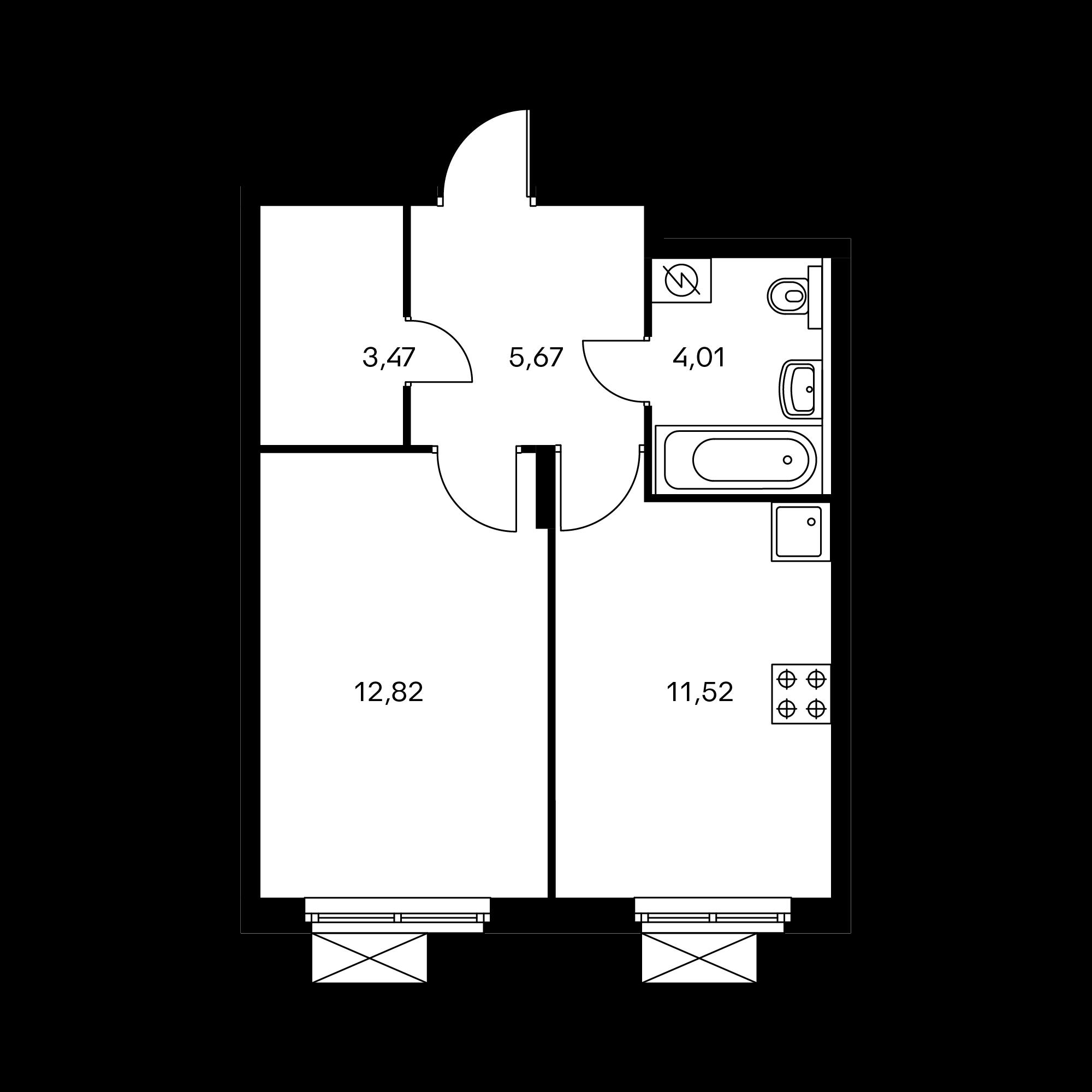 1-комнатная 37.49  м²