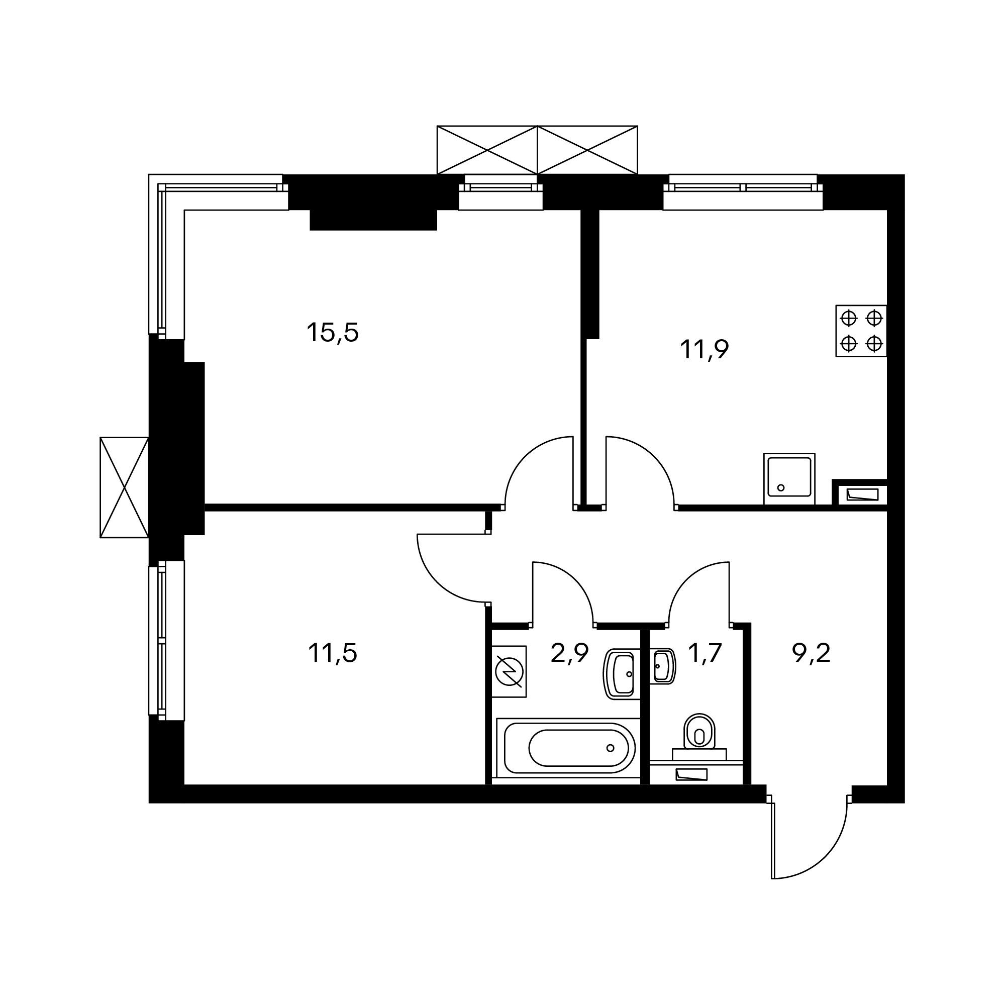 2-комнатная 52.7 м²