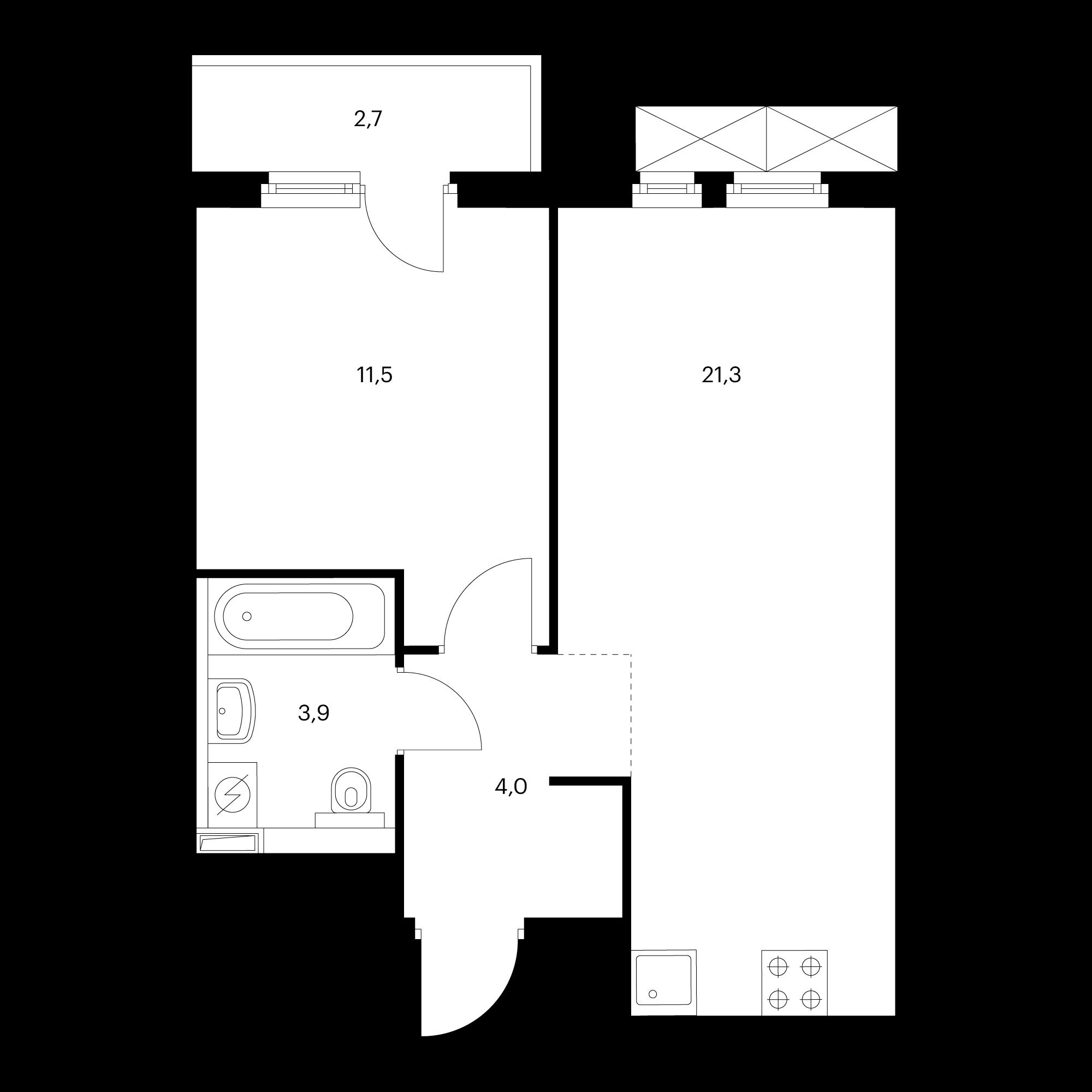 1-комнатная 41.6 м²
