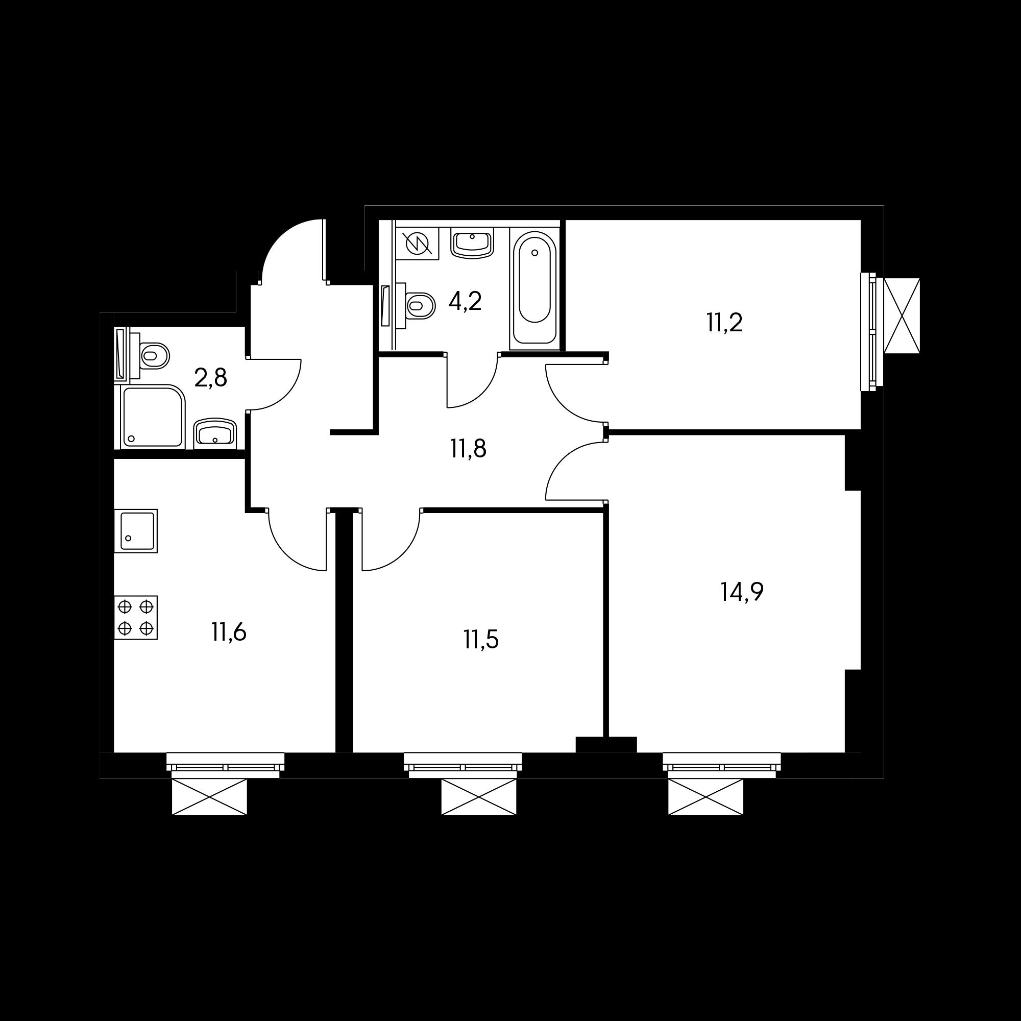 3-комнатная 67.2 м²