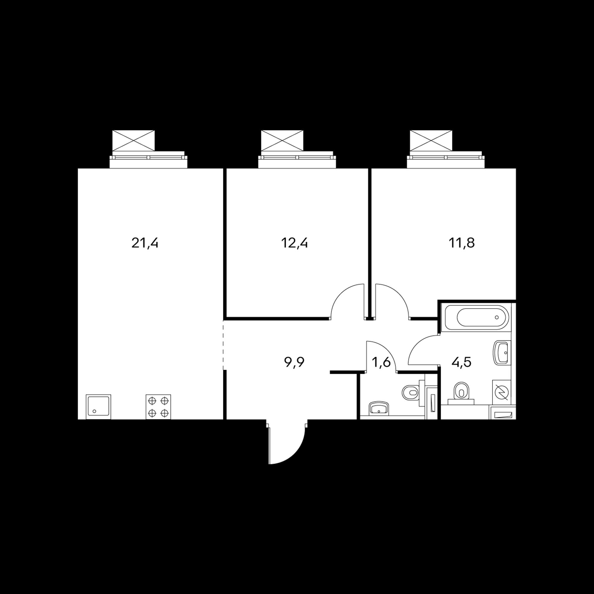 2-комнатная 61.6  м²