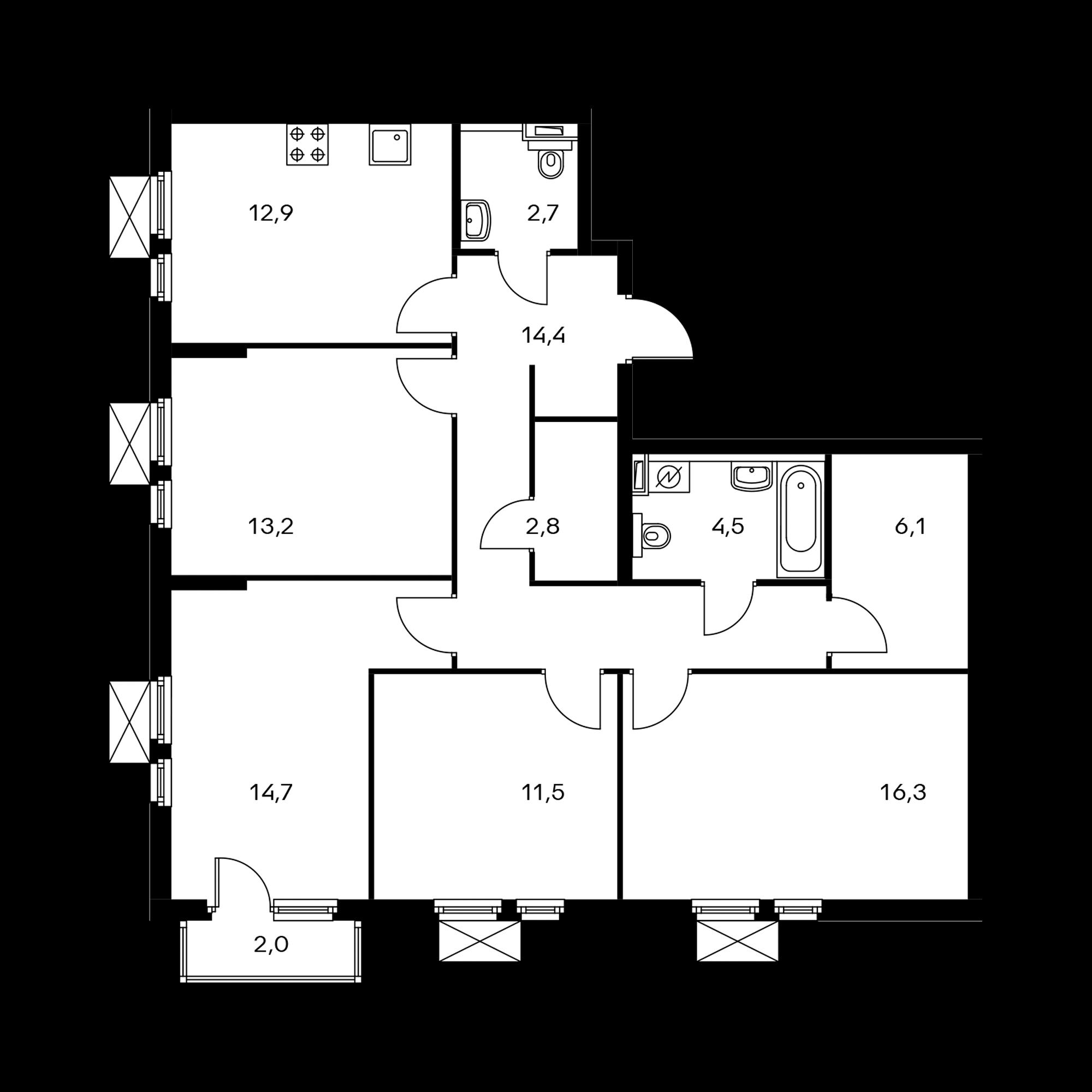4-комнатная 99.7  м²