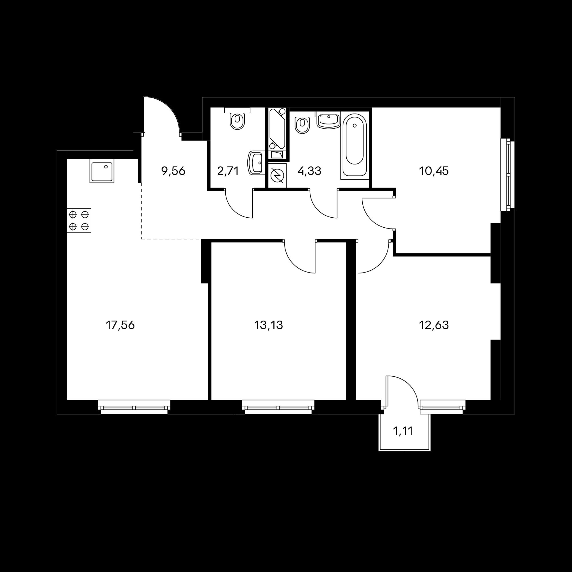 3-комнатная 70.7 м²