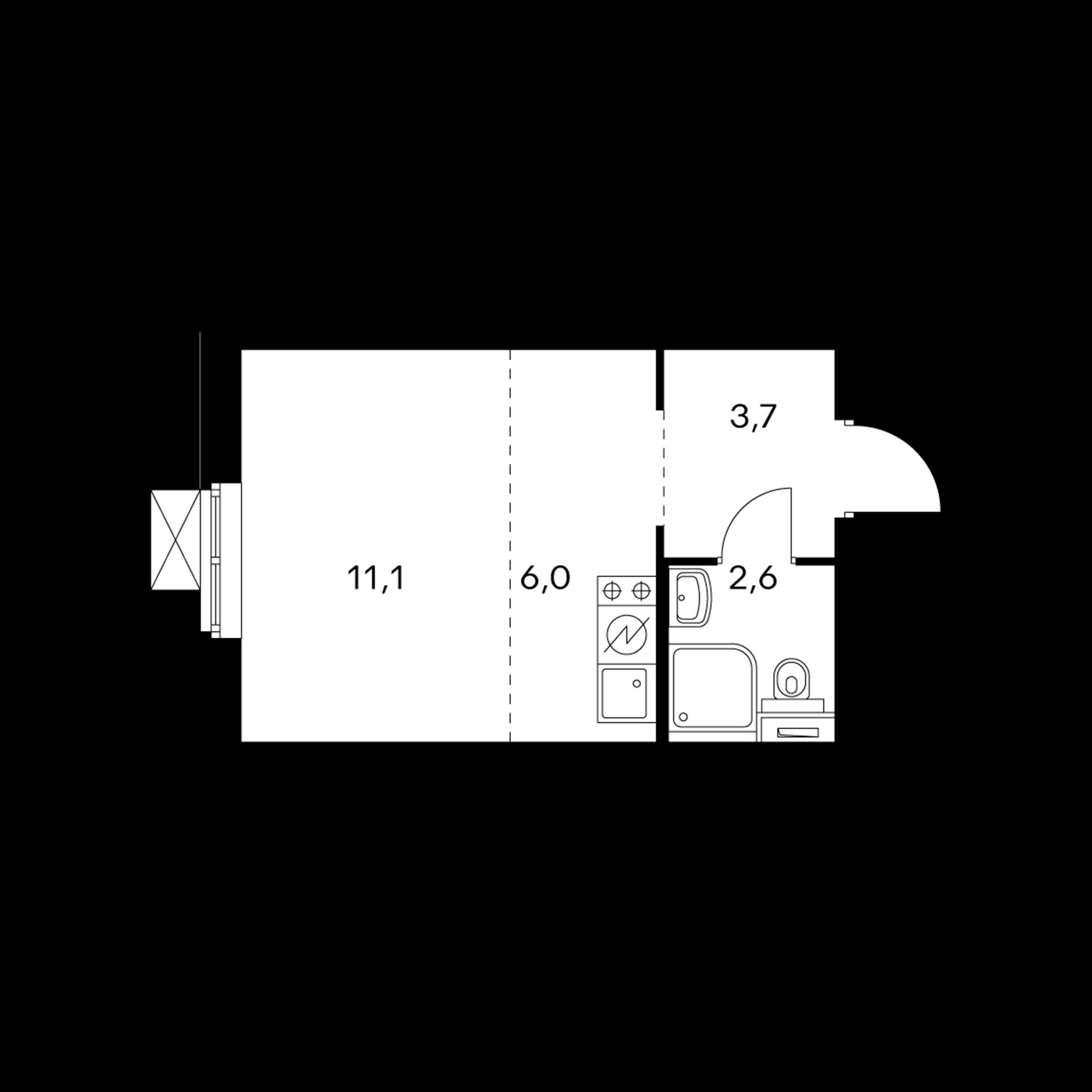 Студия 23.4 м²