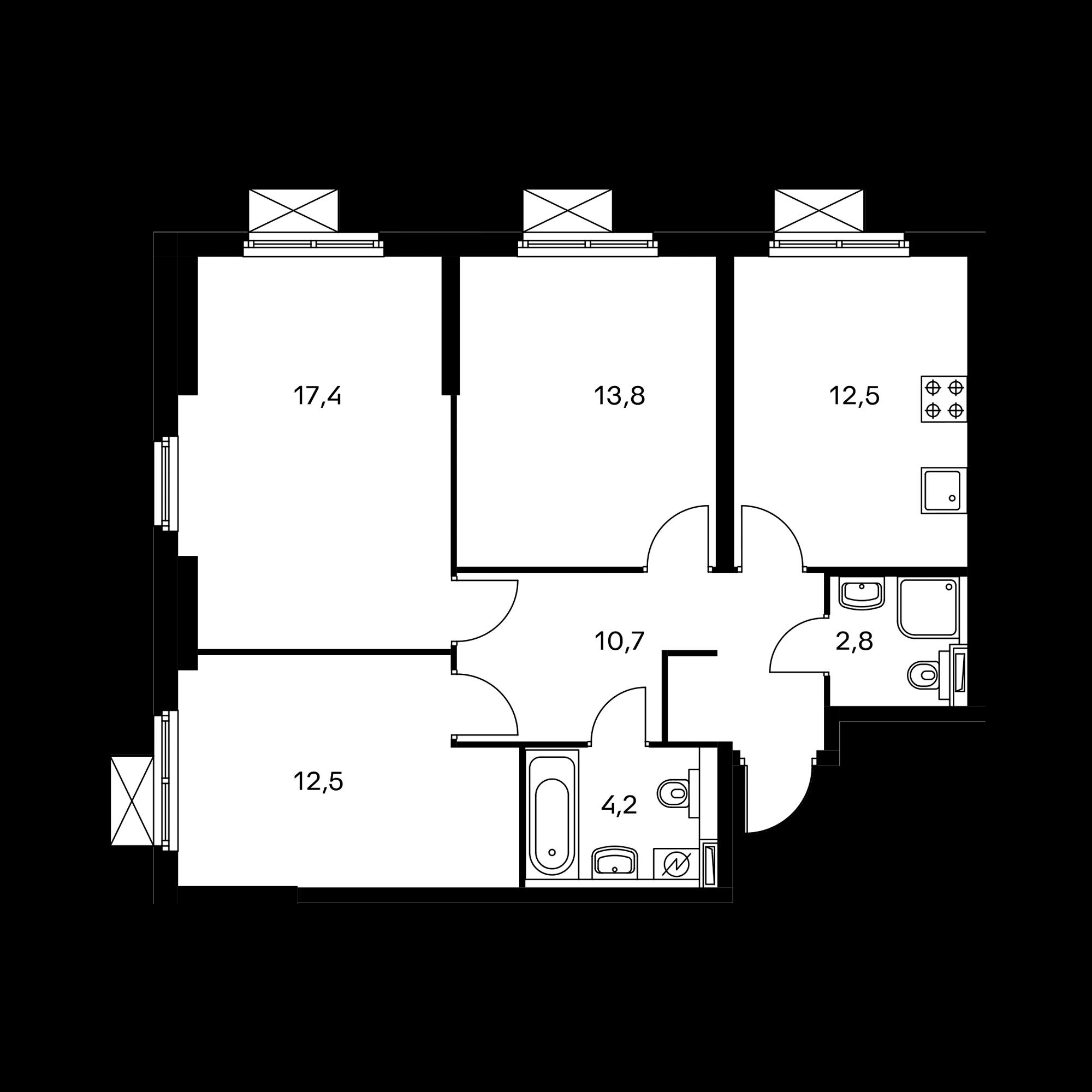 3-комнатная 73.9 м²