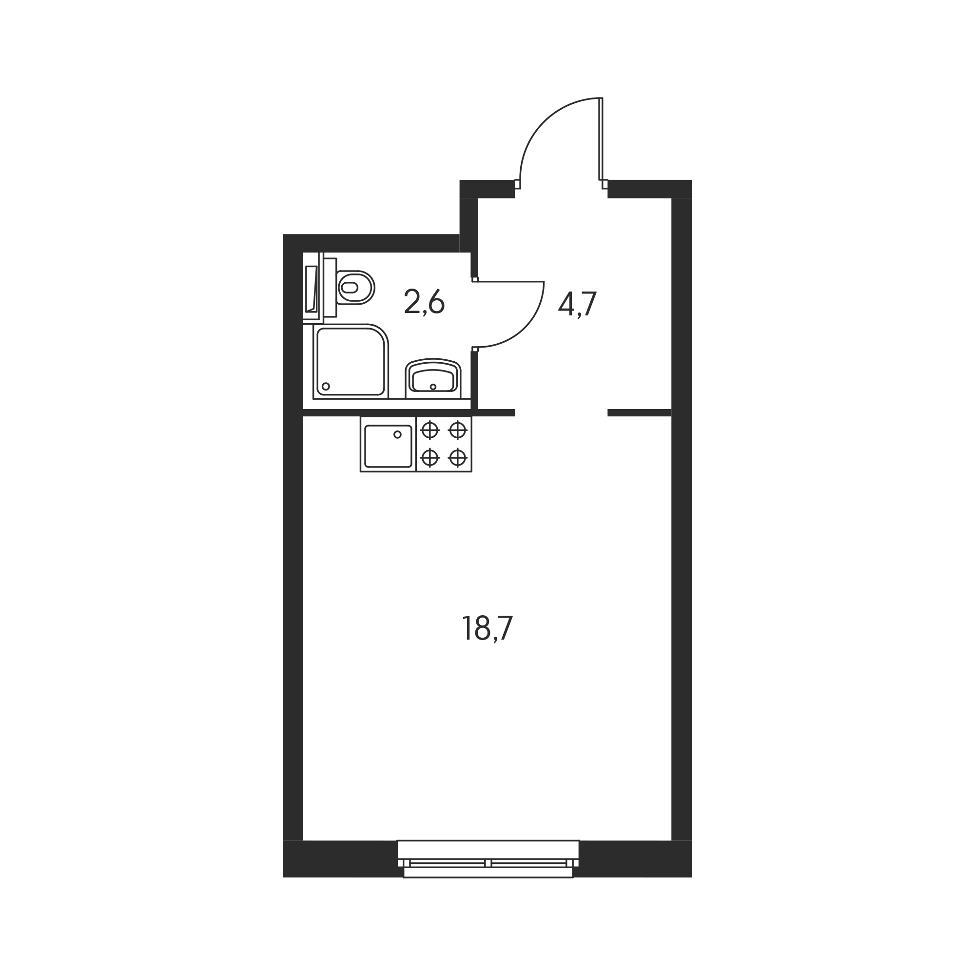 Студия 26  м²