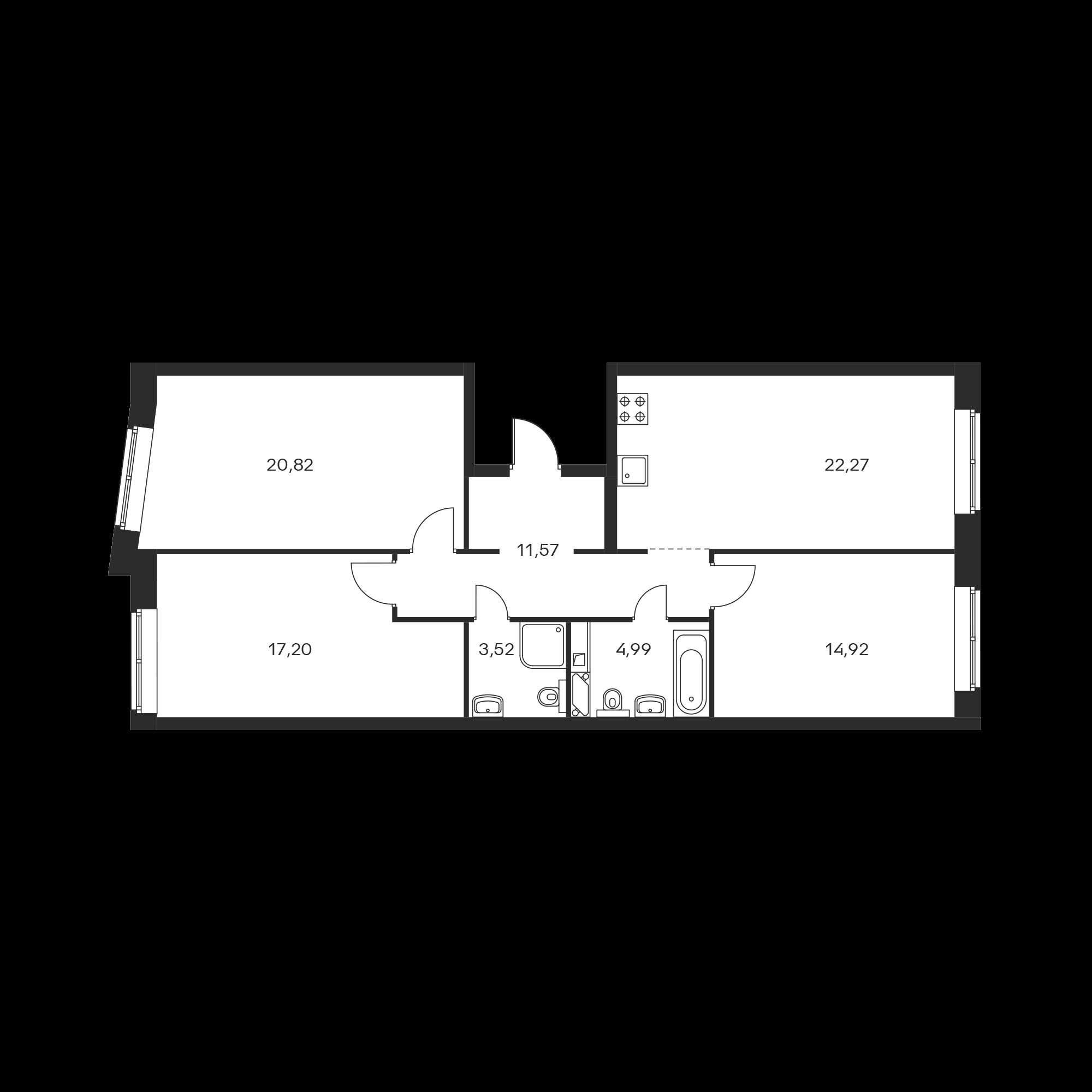 3-комнатная 95.29 м²