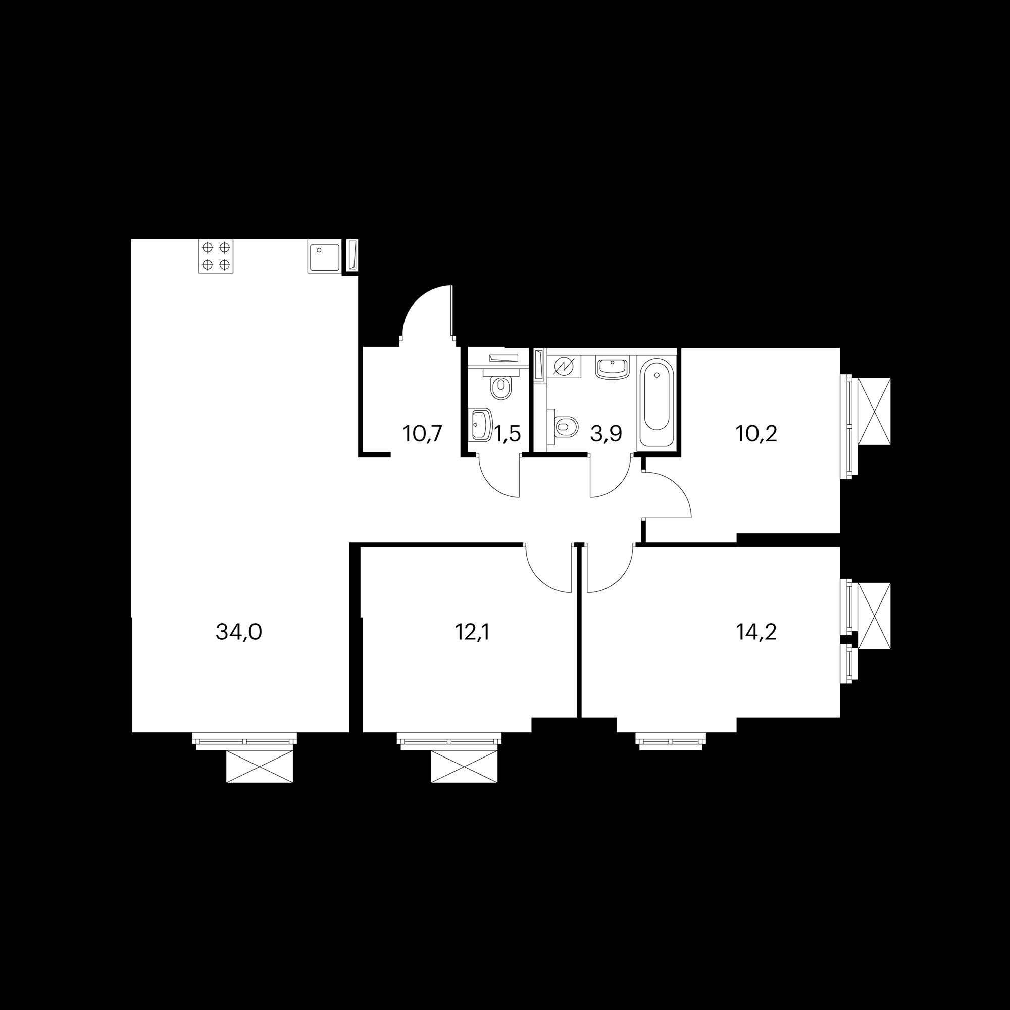 3-комнатная 86.6  м²