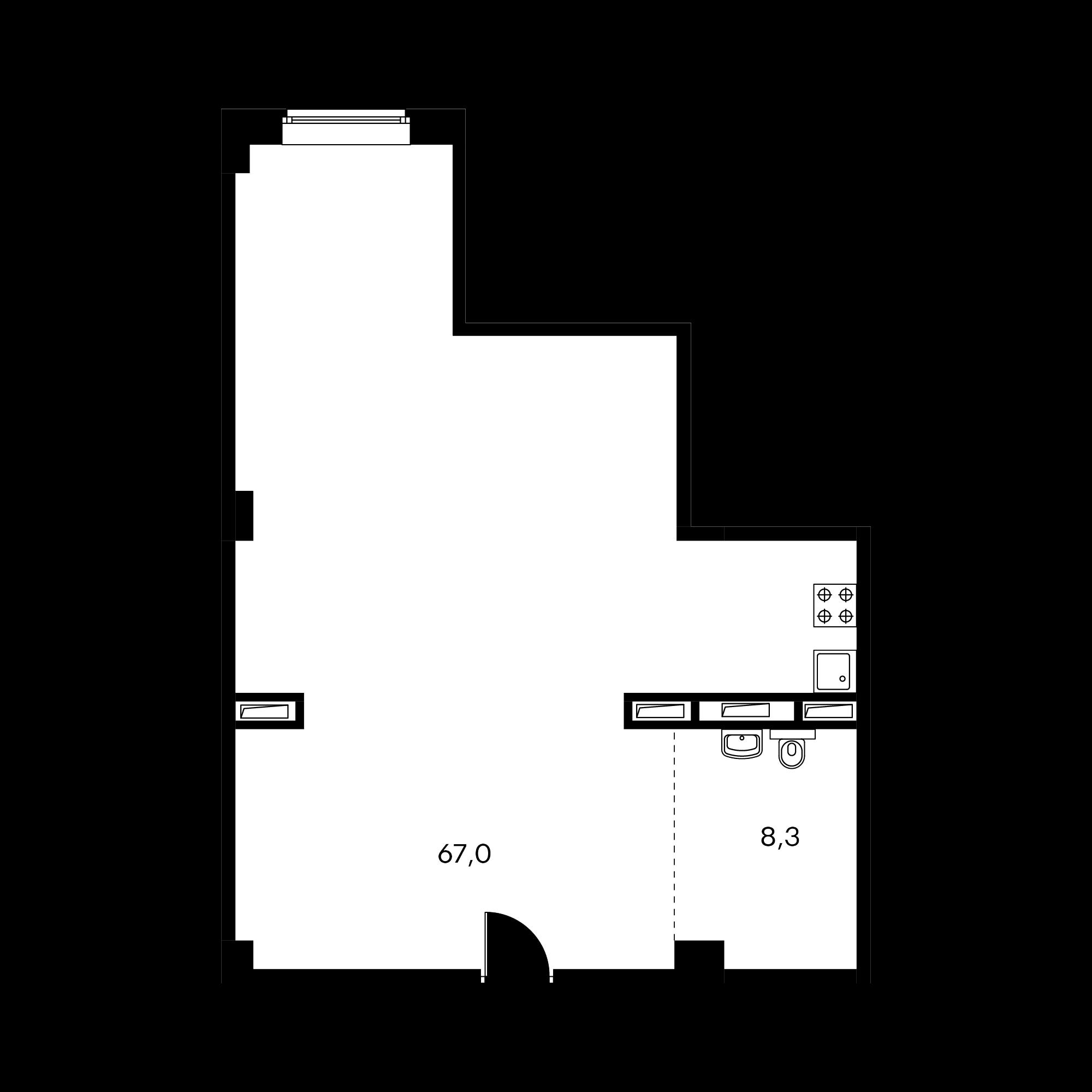 1-комнатные 75.5  м²
