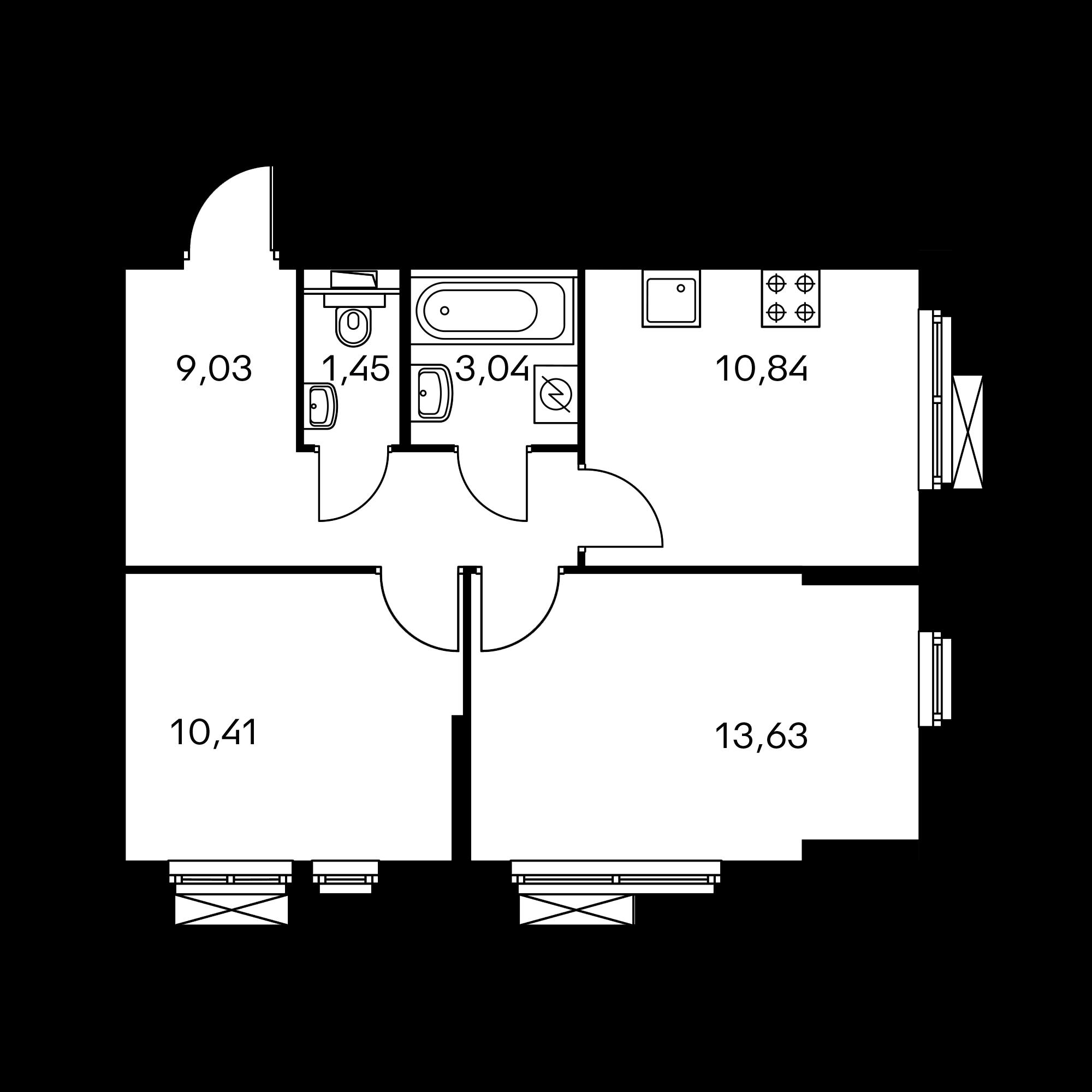 2-комнатная 48.4  м²
