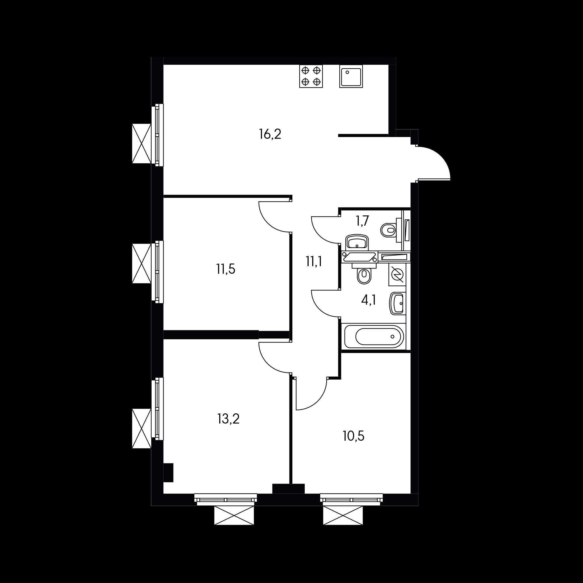 3-комнатная 68 м²