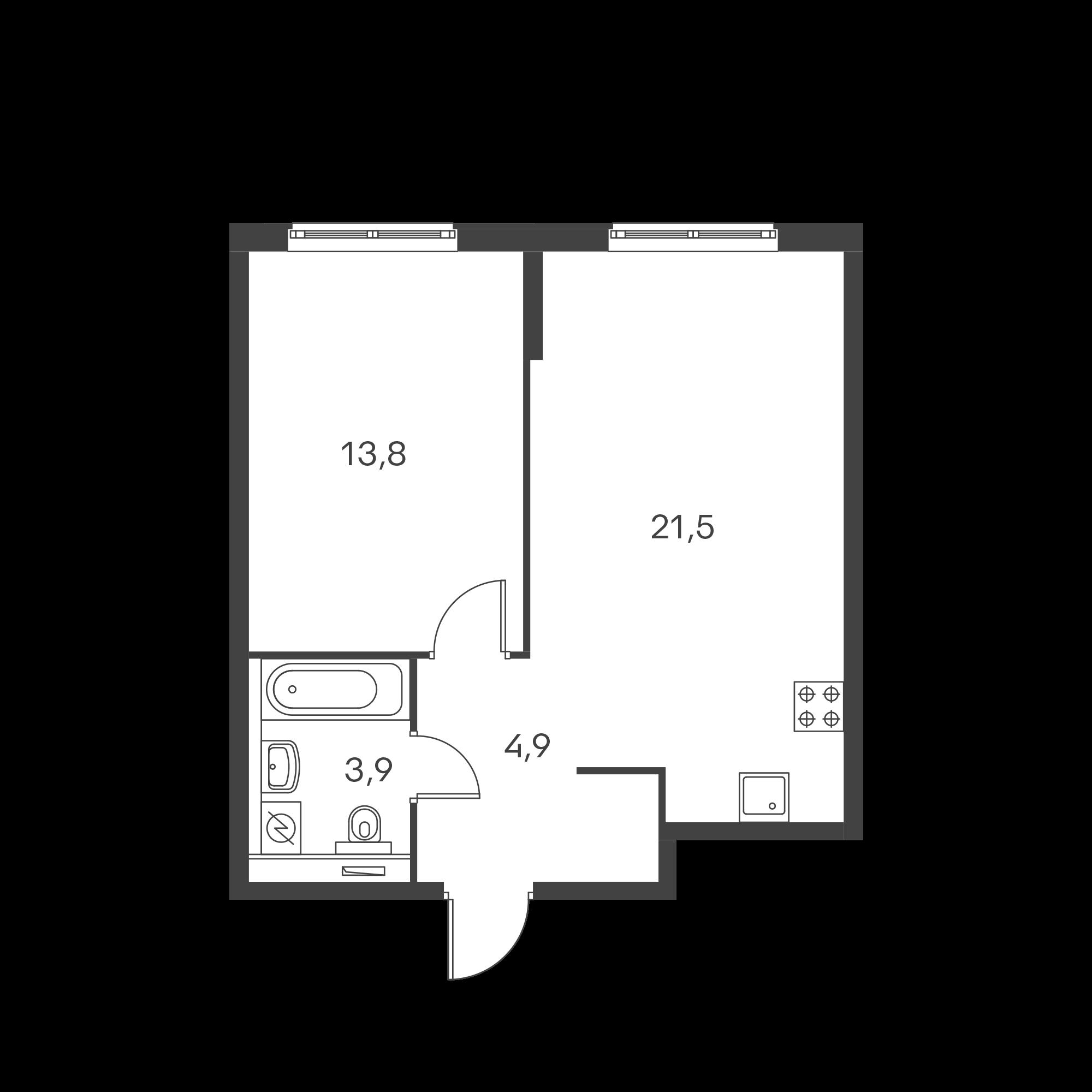 1-комнатная 44.1 м²
