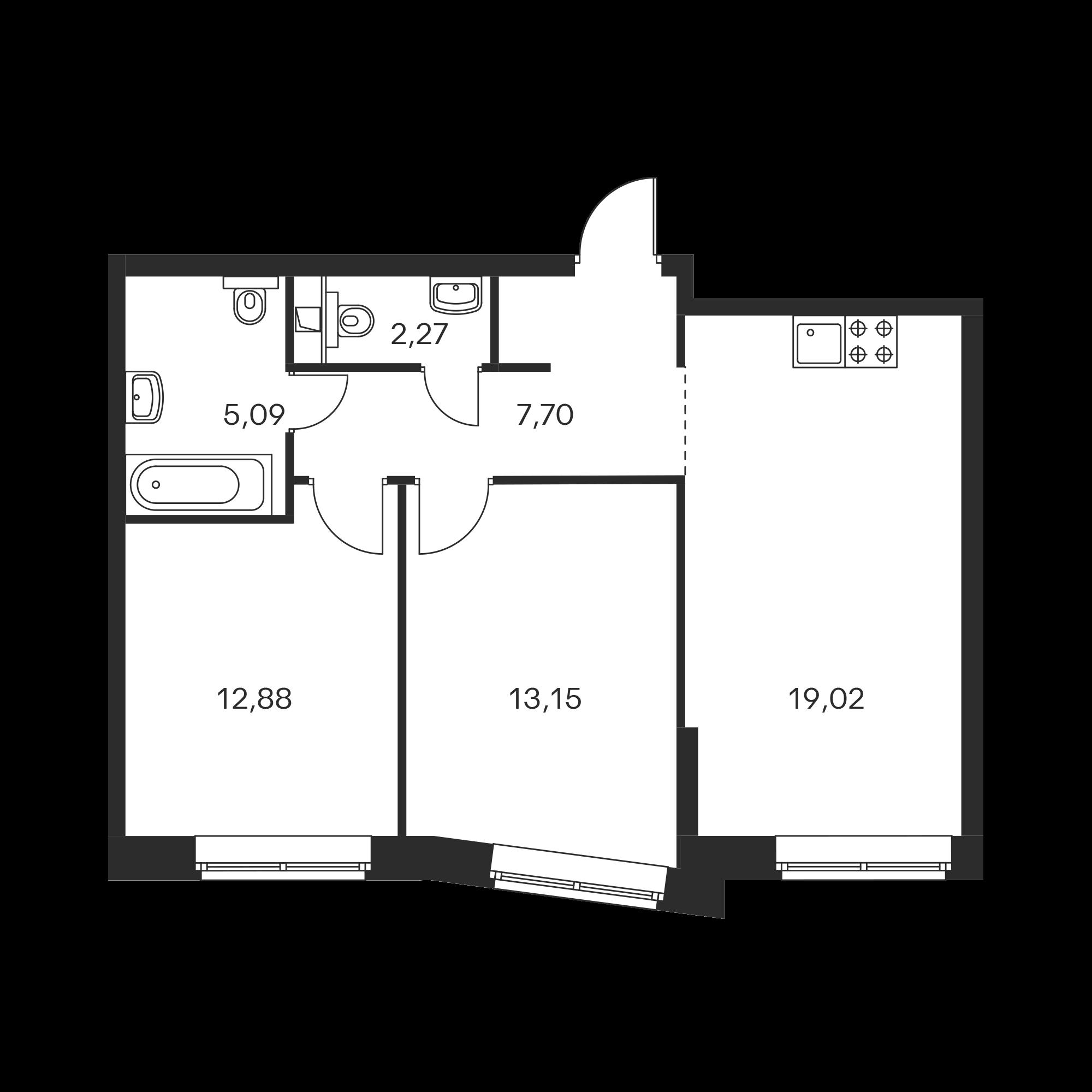 2-комнатная 59.11 м²