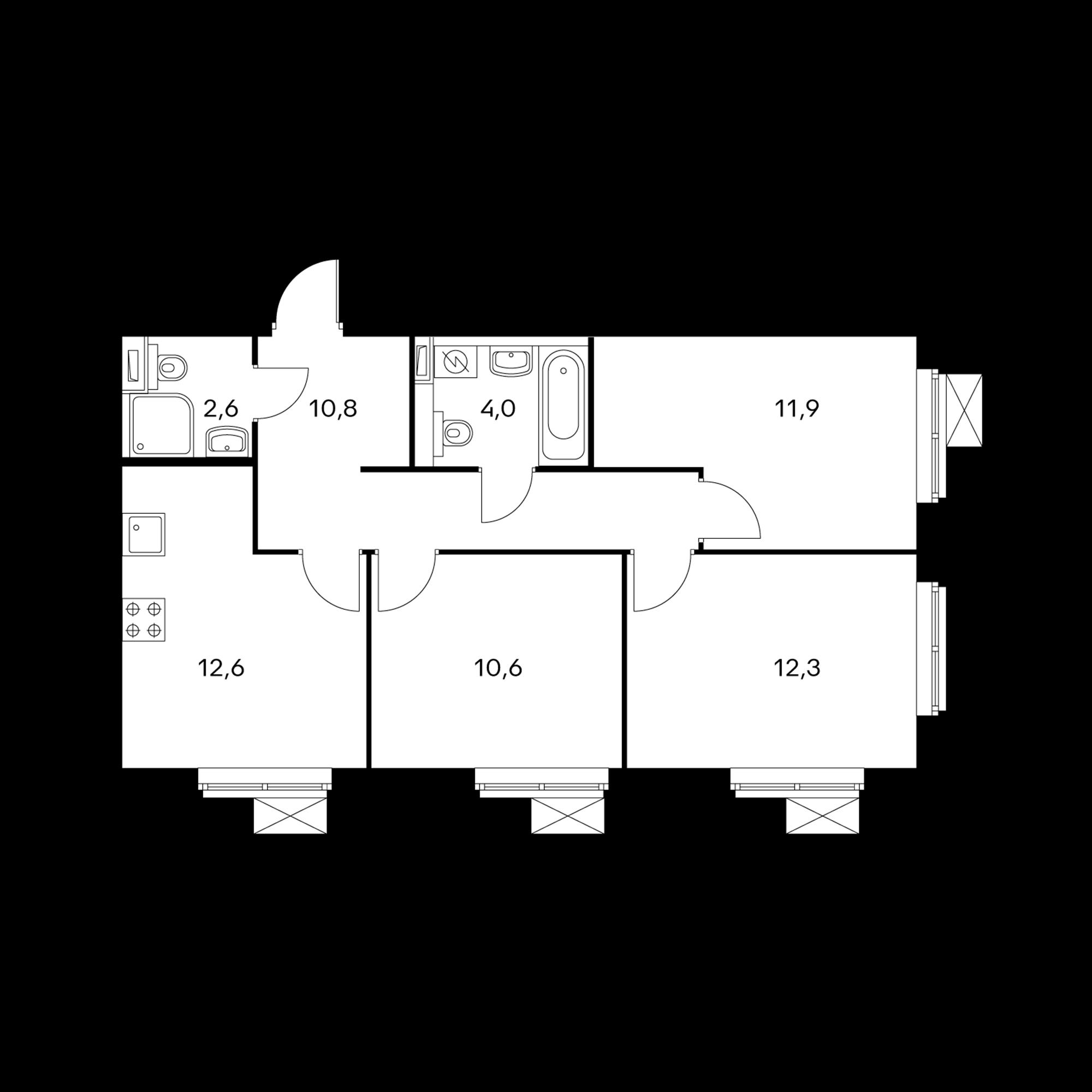 3-комнатная 64.8 м²
