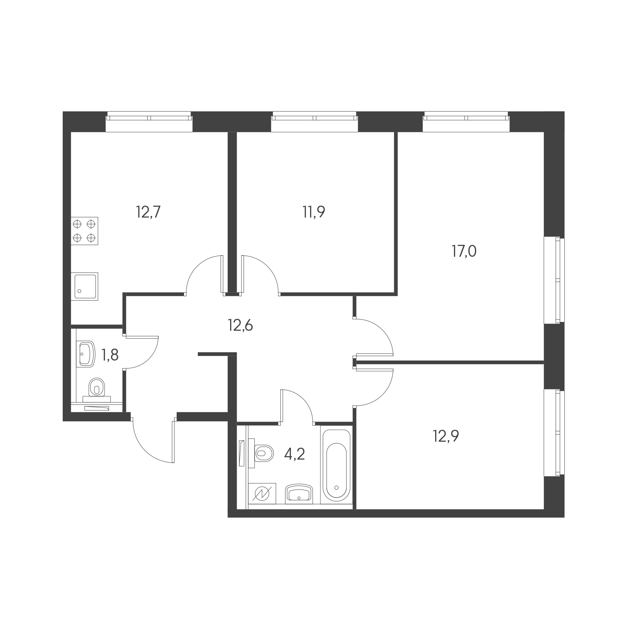 3-комнатная 72  м²