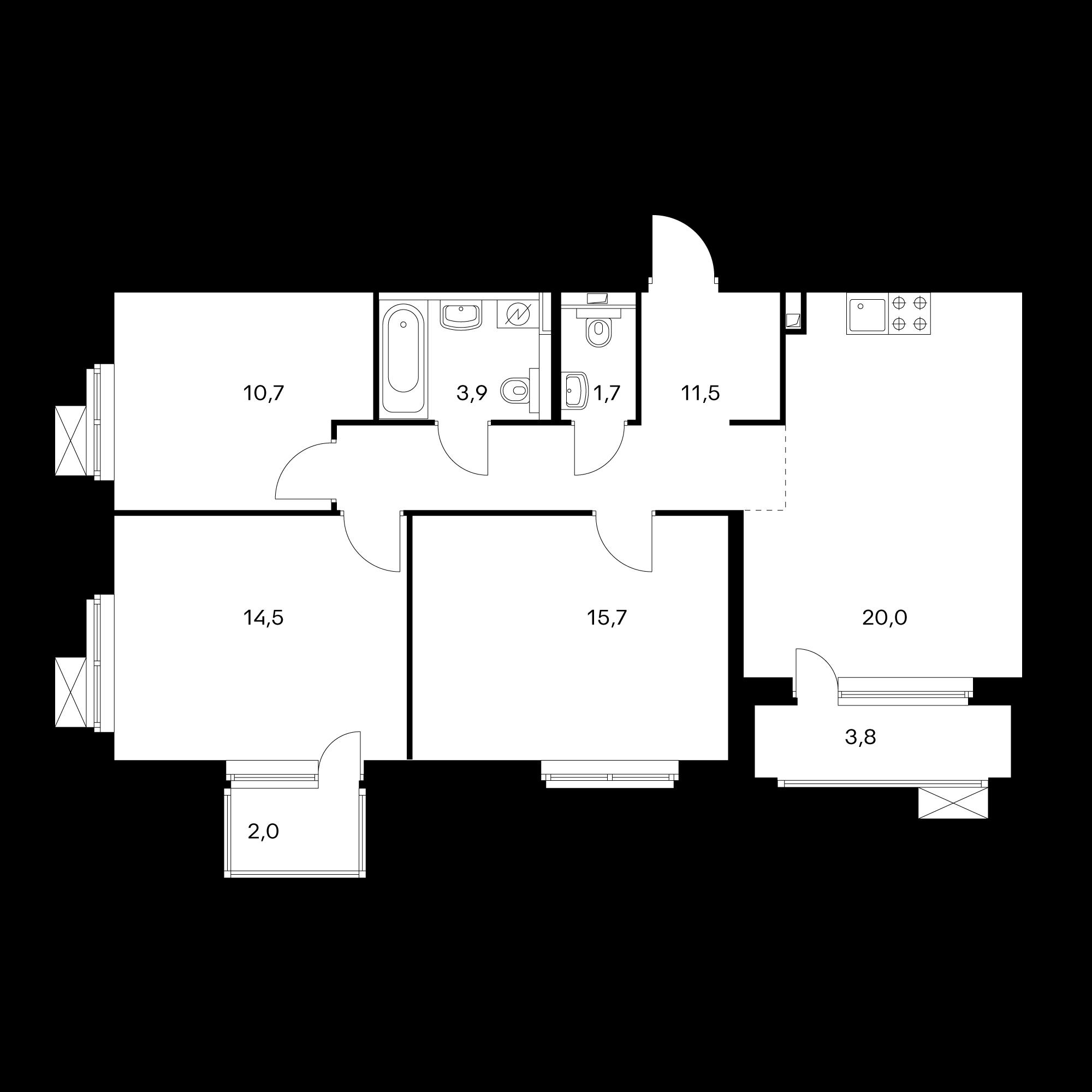 3-комнатная 80.5  м²