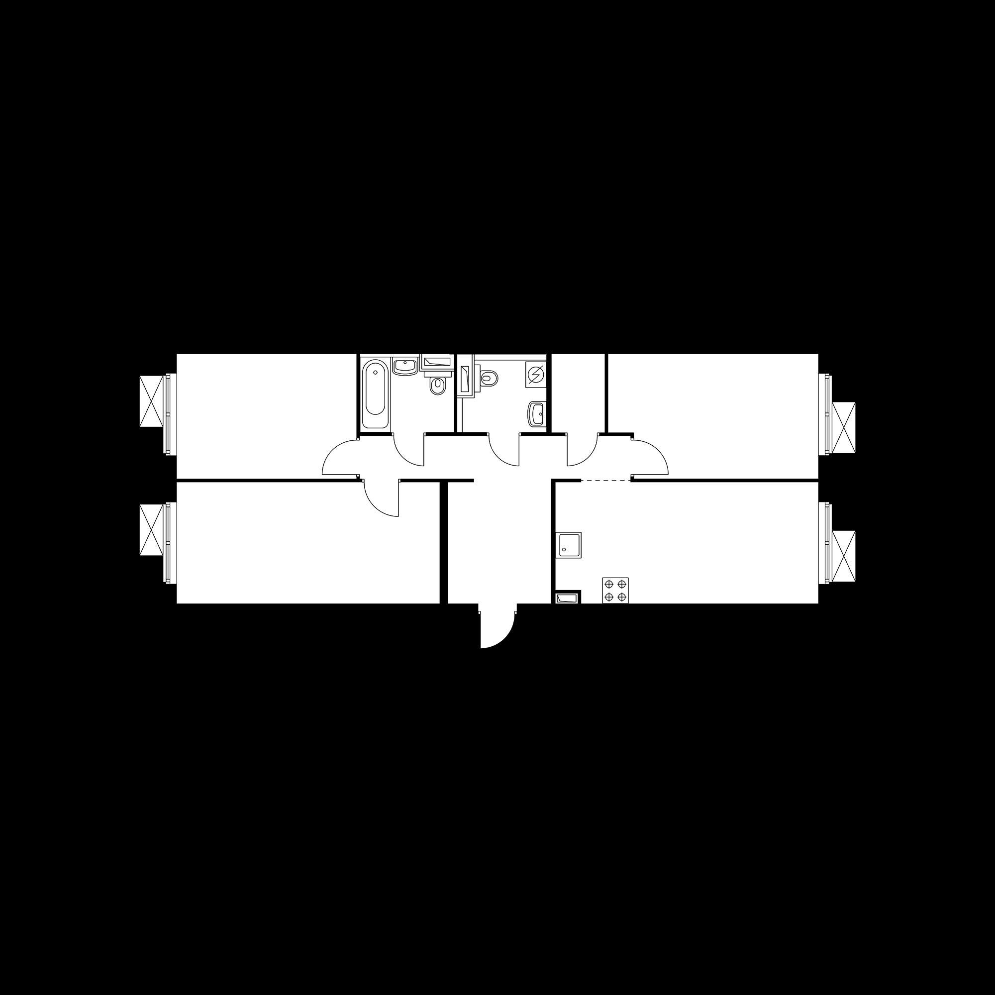 3-комнатная 82.17 м²