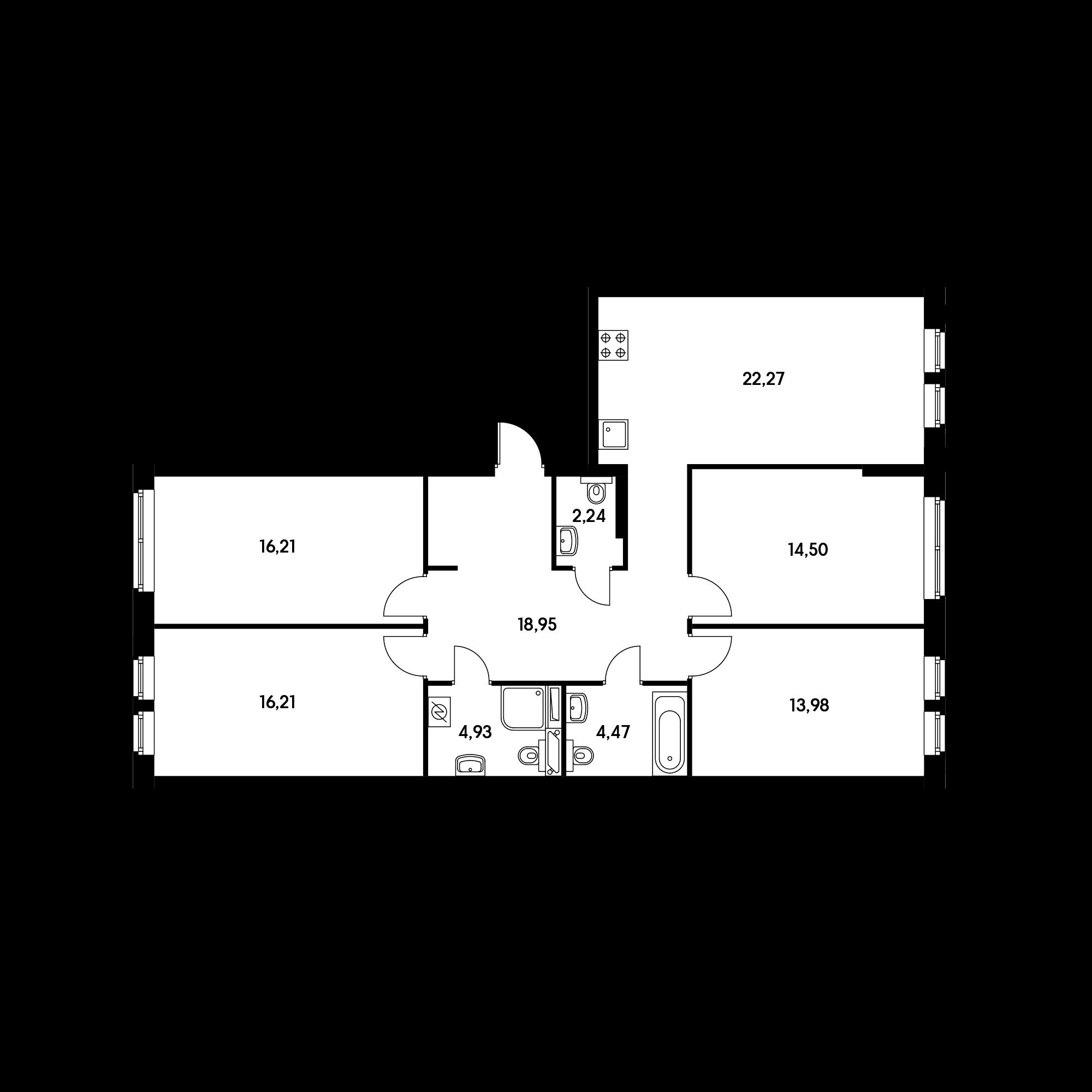 4-комнатная 113.76 м²