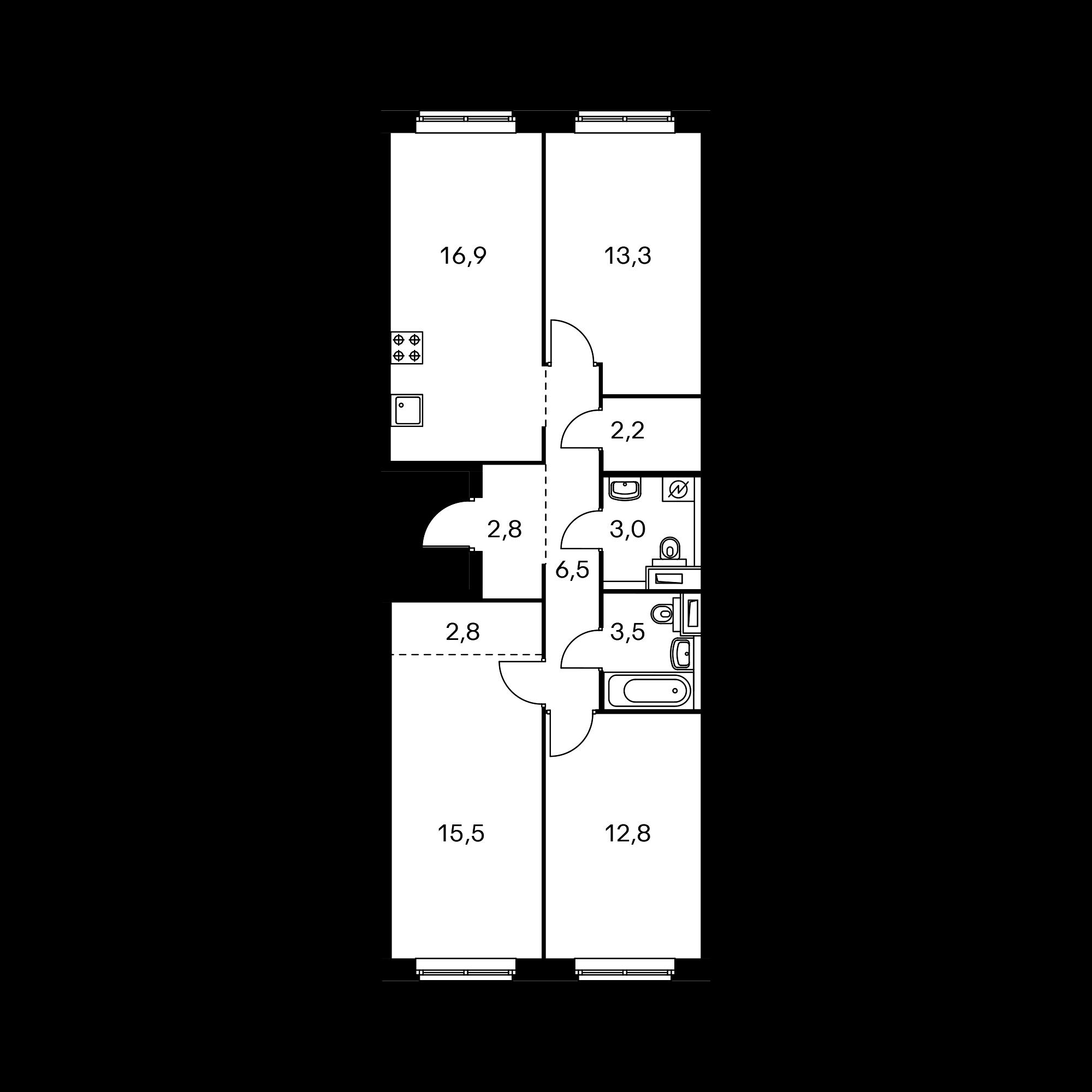 3-комнатная 78.3  м²