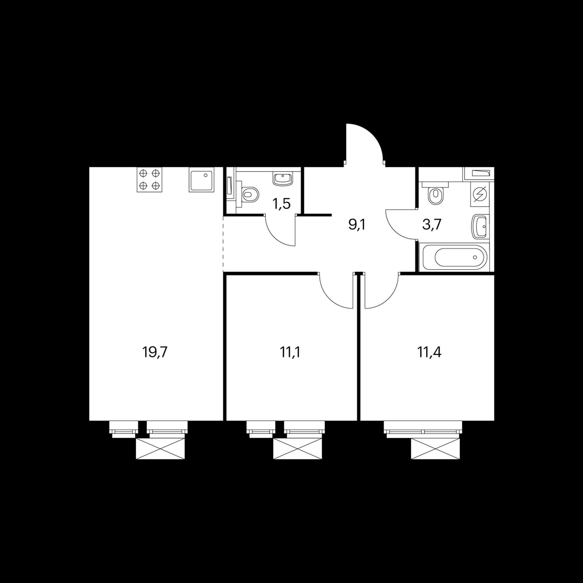 2-комнатная 57.2 м²