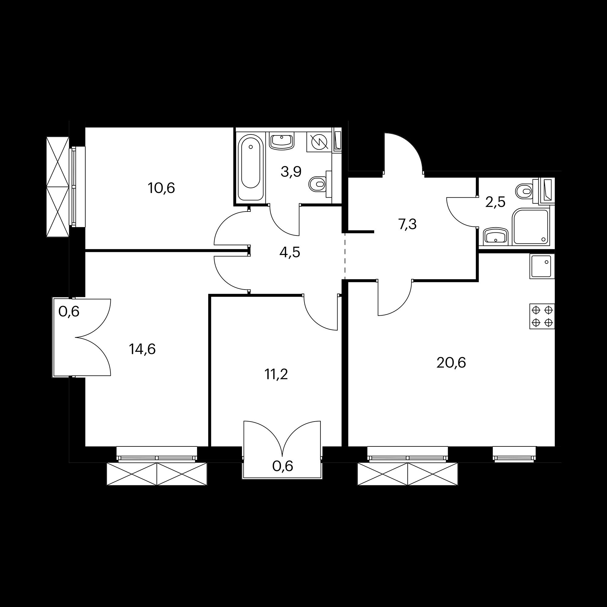 3-комнатная 75.6 м²