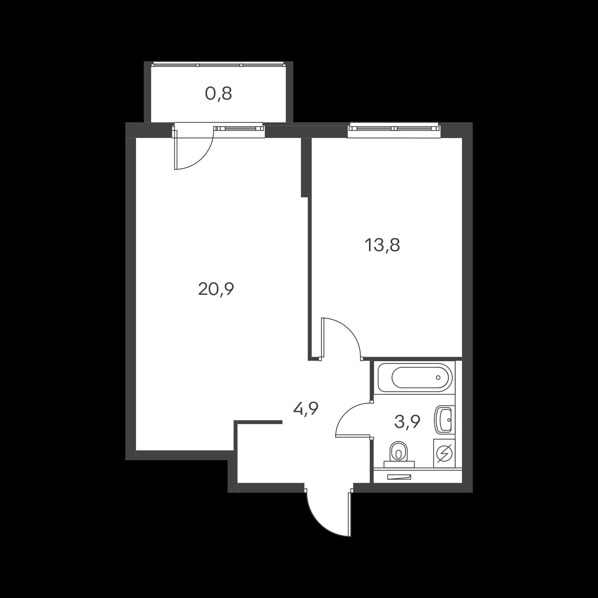 1-комнатная 44.3 м²
