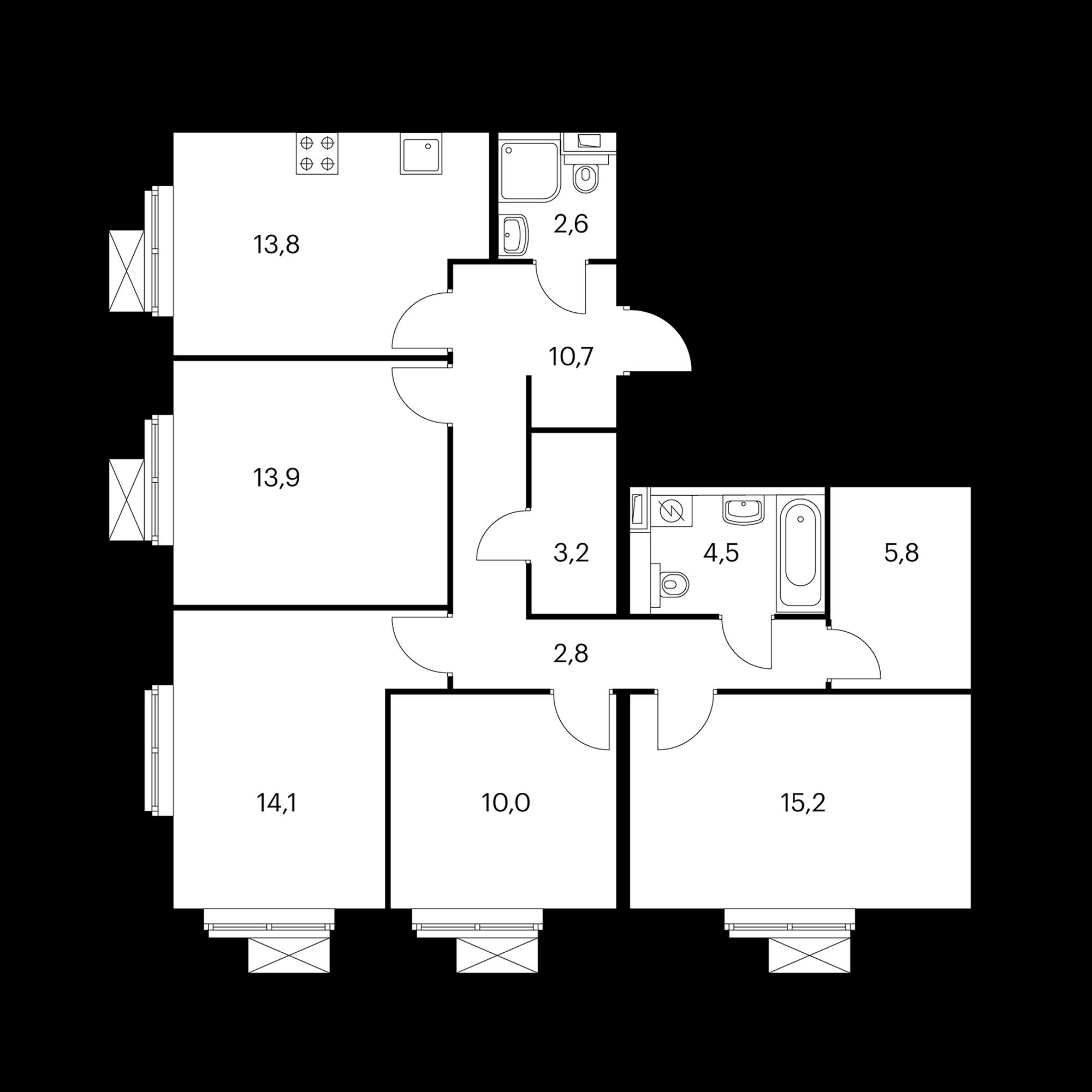 4-комнатная 96.5 м²