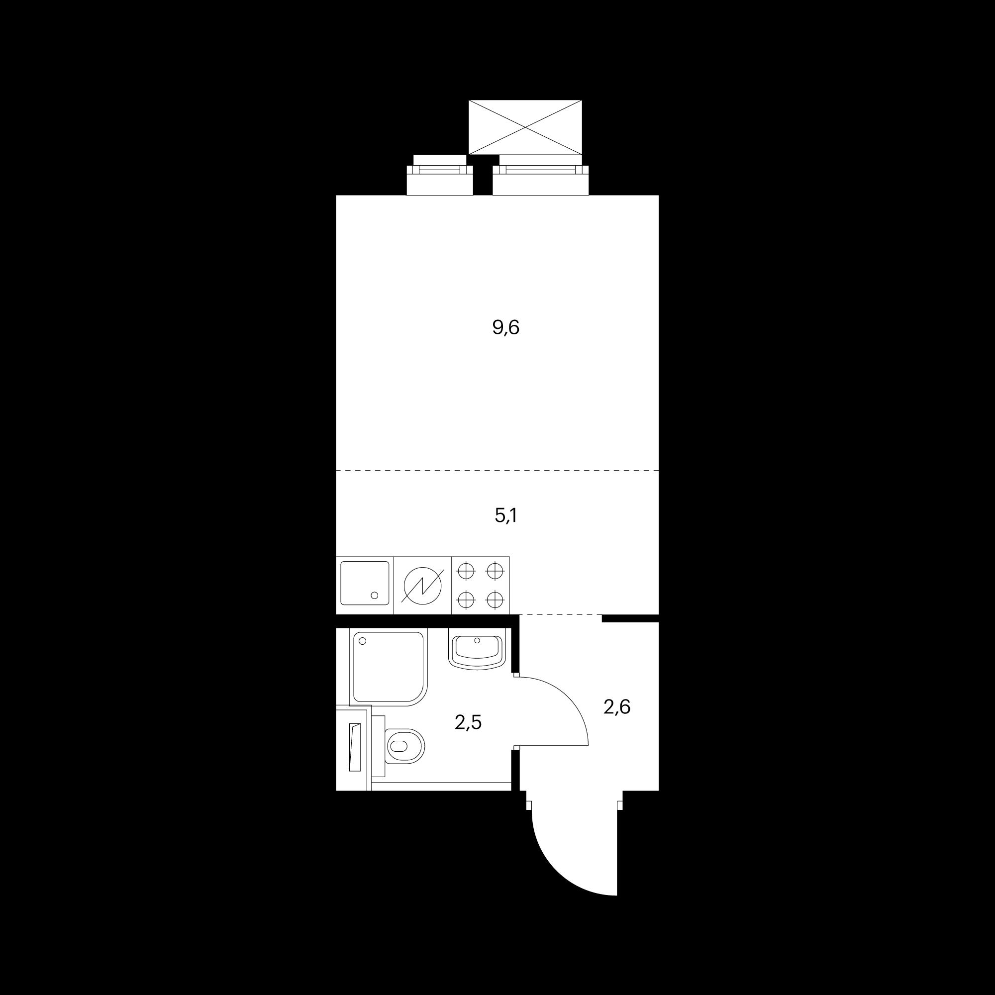 Студия 19.8  м²